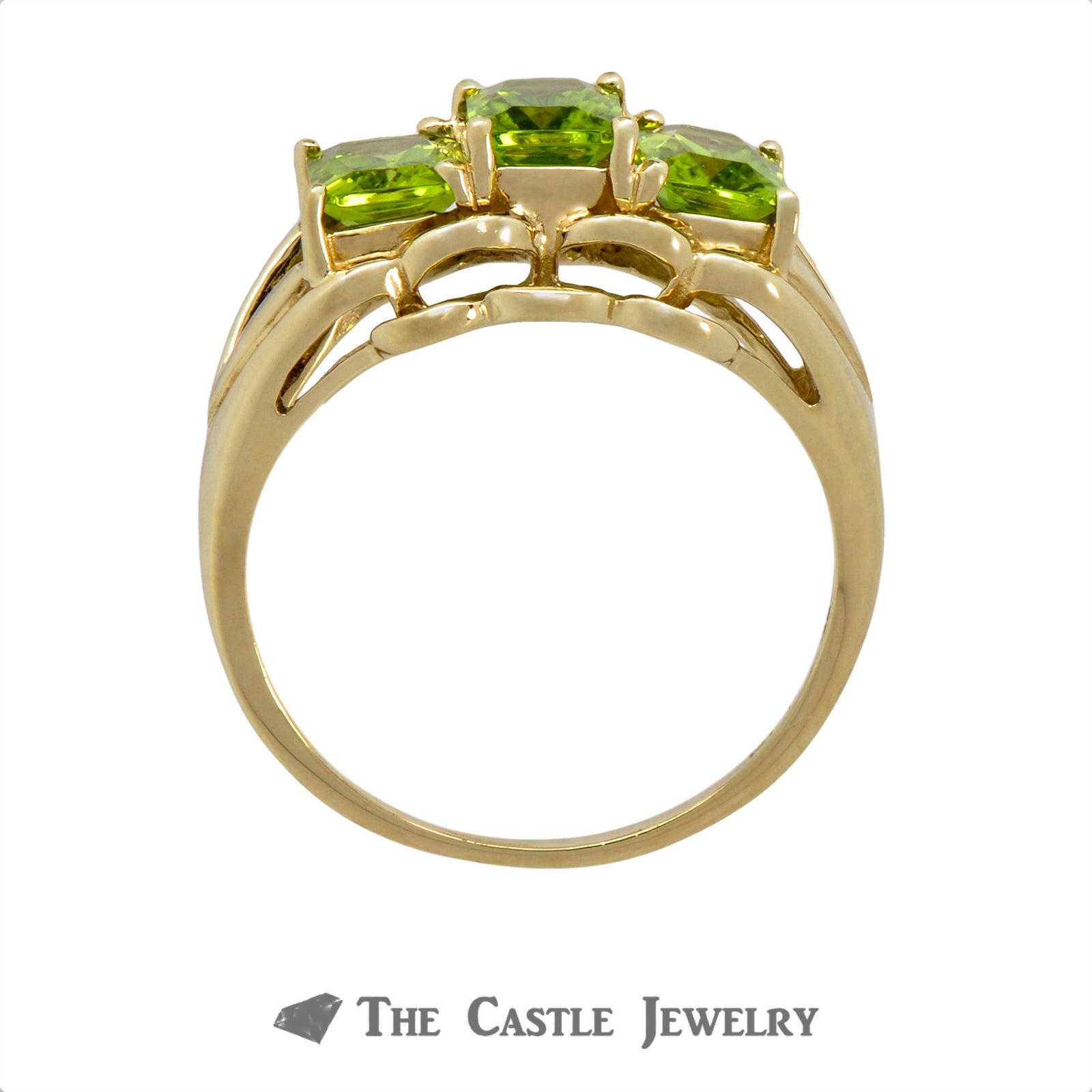Lovely Three Stone Emerald Cut Peridot Ring Crafted in 14k Yellow Gold-1