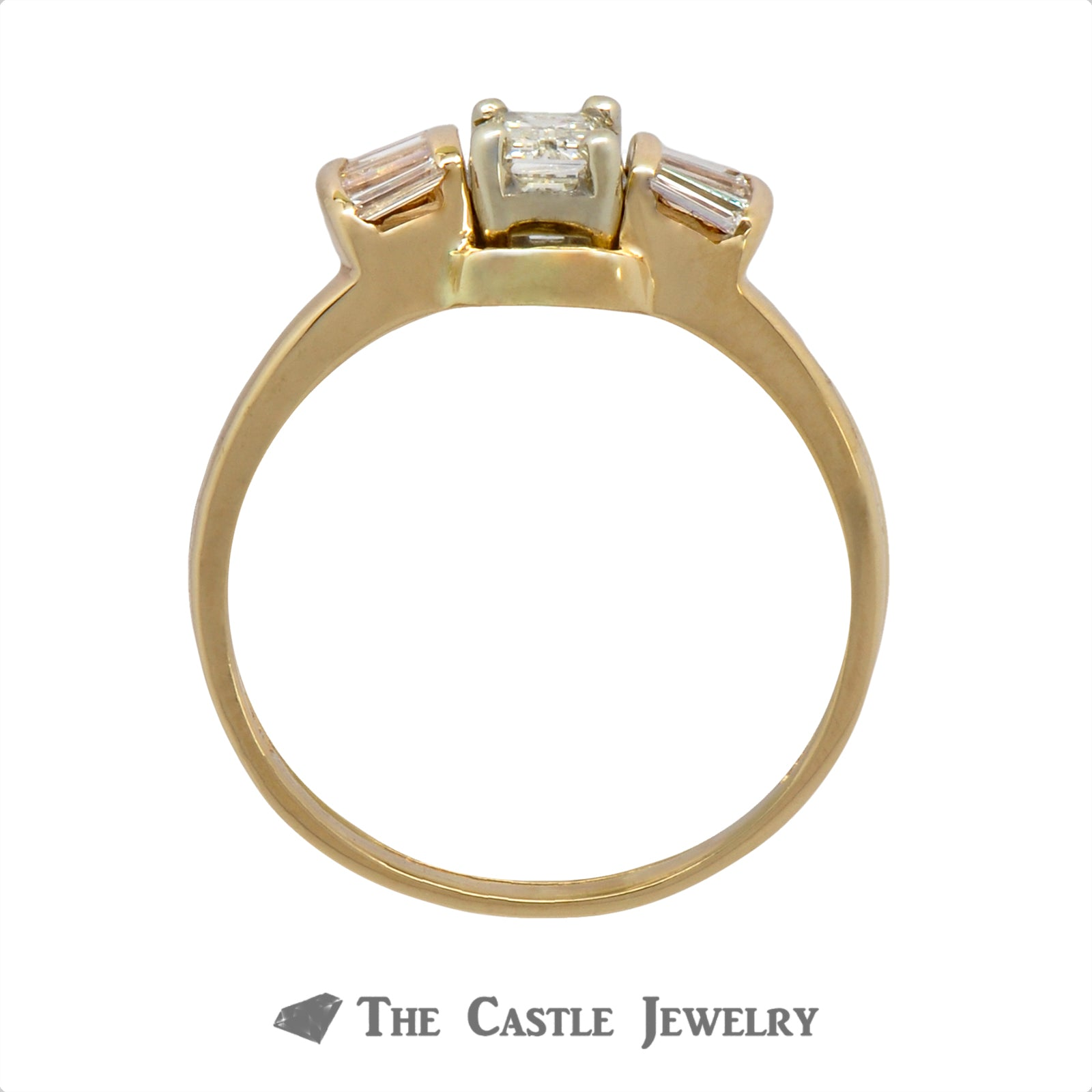 Emerald Cut Bridal Set with Baguette Accents Crafted in 14k Yellow Gold-1