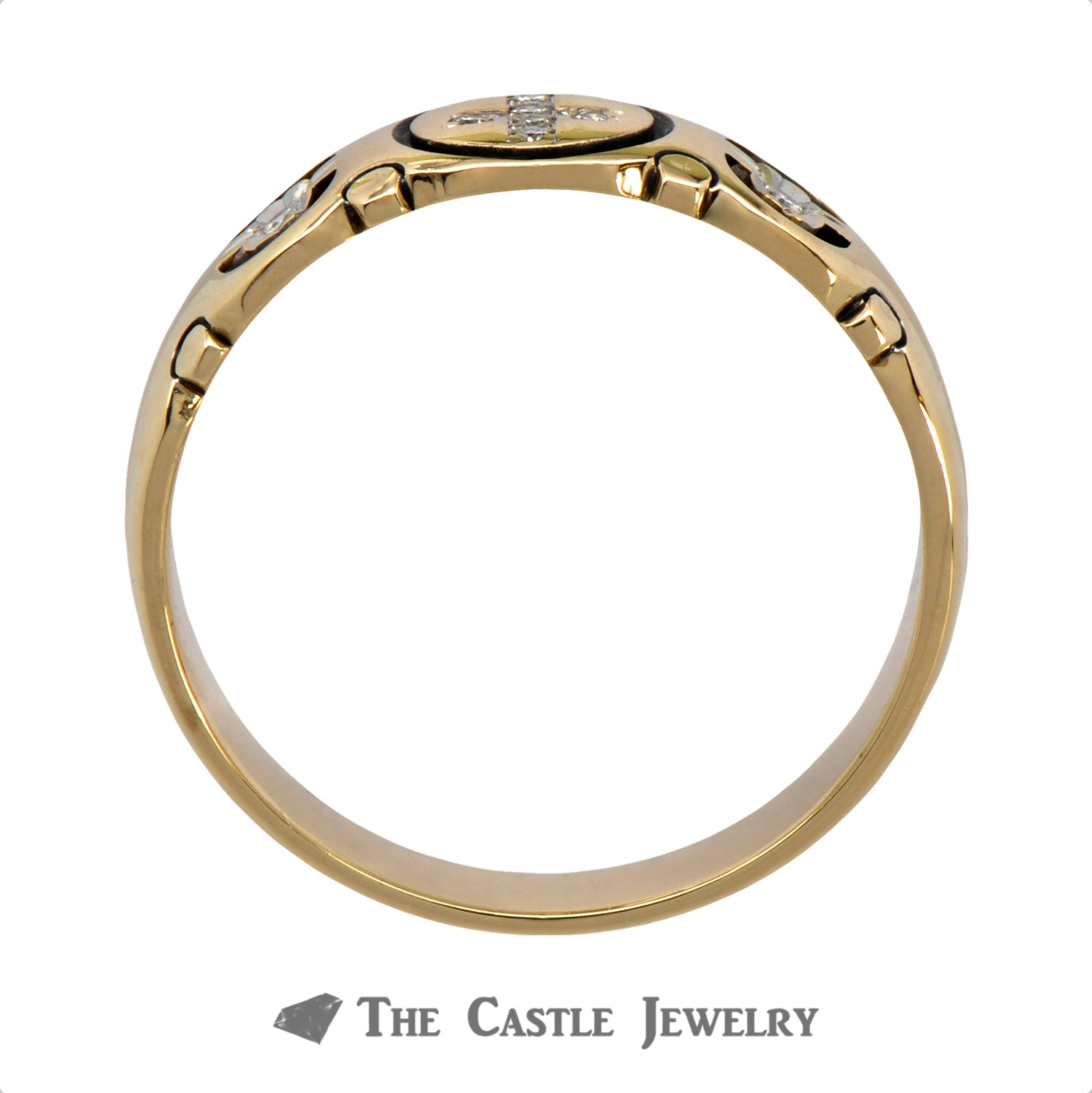 Cross Designed .07cttw Diamond Wedding Band in 14k Yellow Gold-1