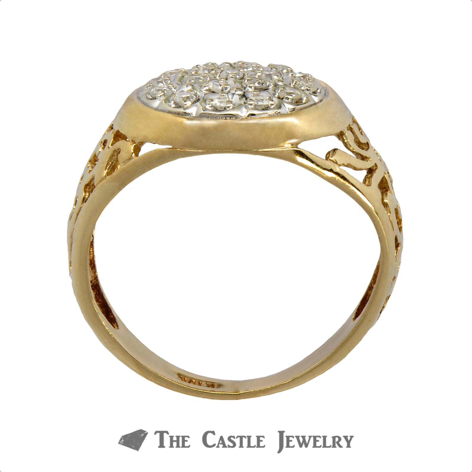 .25cttw Diamond Kentucky Cluster Ring in 10k Yellow Gold-1