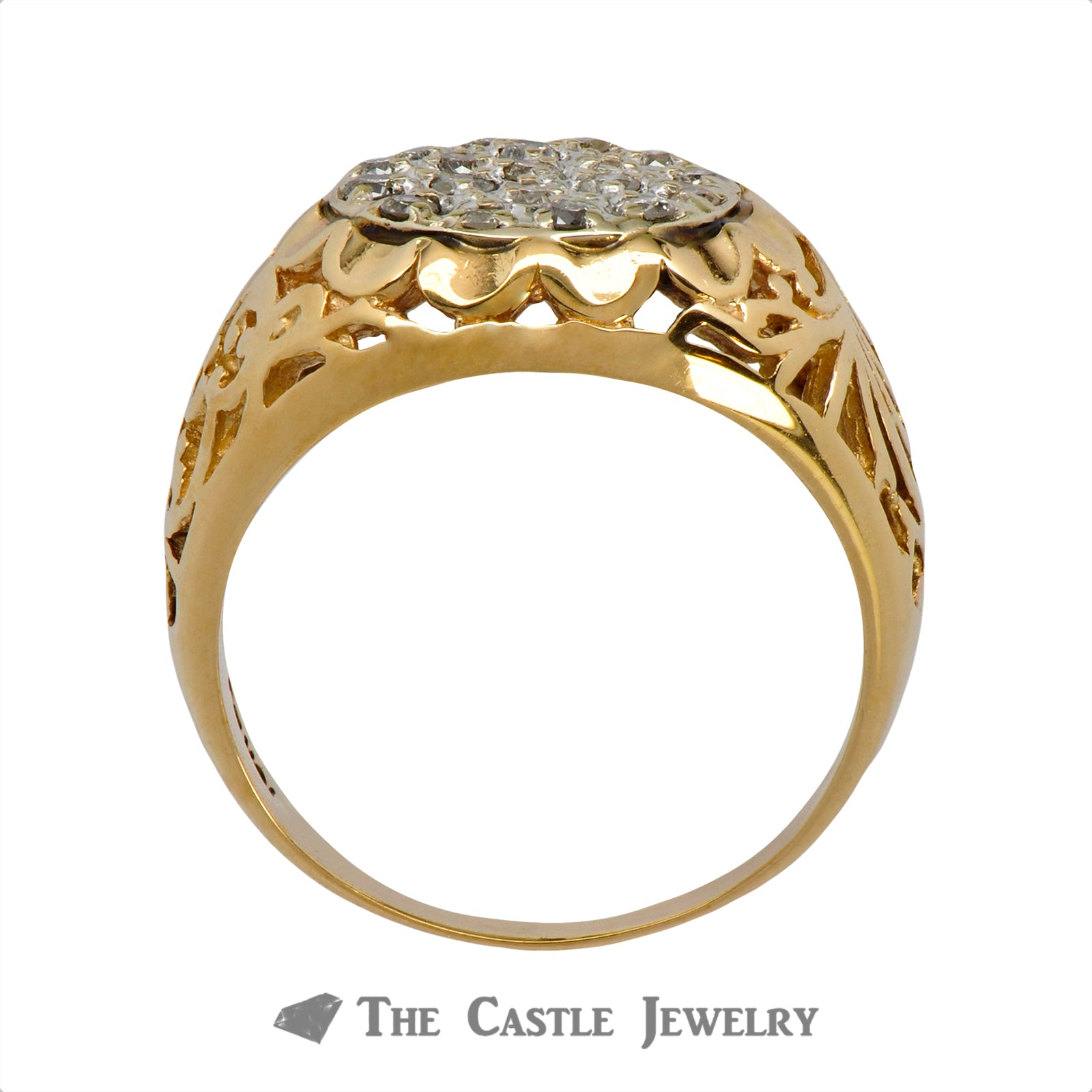 19 Diamond Kentucky Cluster Ring in 10K Yellow Gold-1