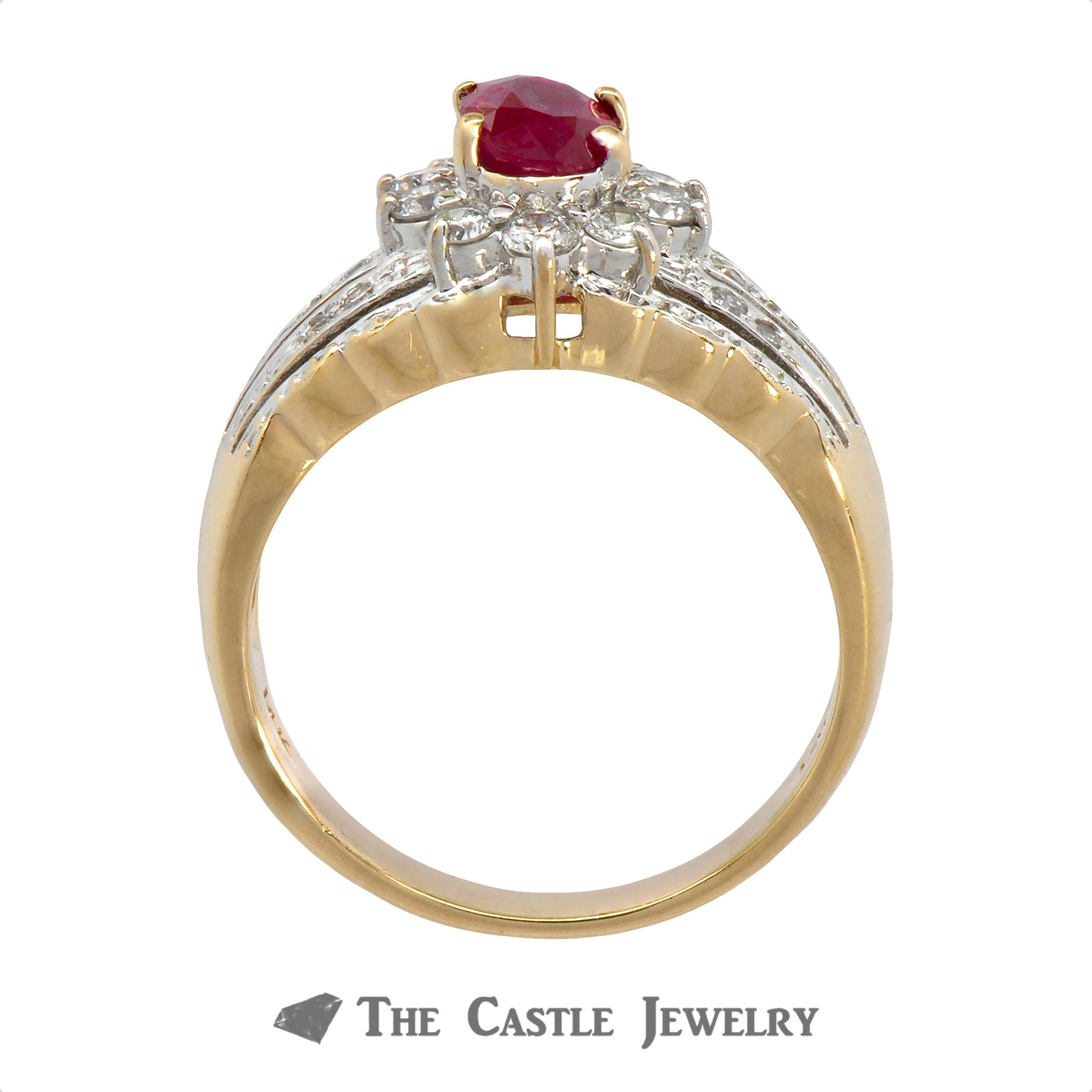 Le Vian Oval Ruby Ring with .50cttw Diamond Halo & Accents in 14k Yellow Gold-1