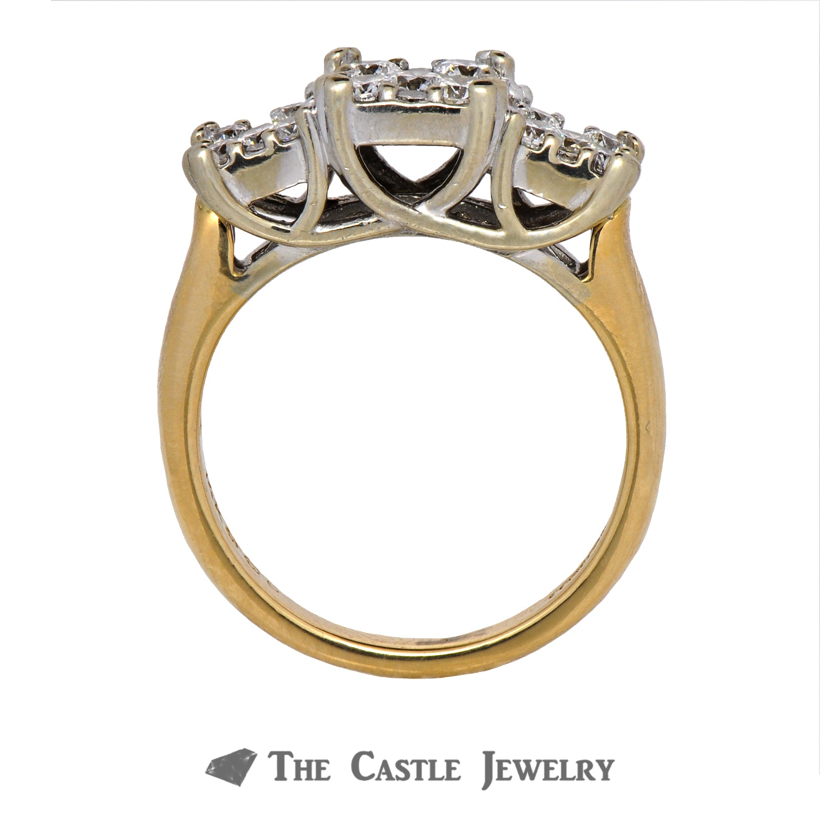 Square Cluster Engagement Ring 1cttw in 14K Yellow Gold-1