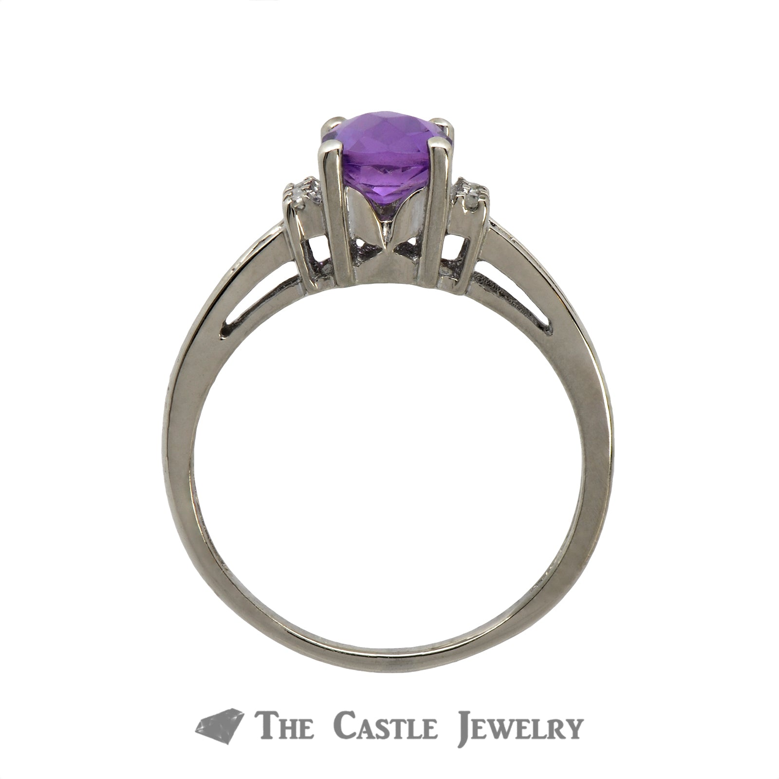 Fantasy Cut Amethyst Ring with Diamond Accents in 10K White Gold-1