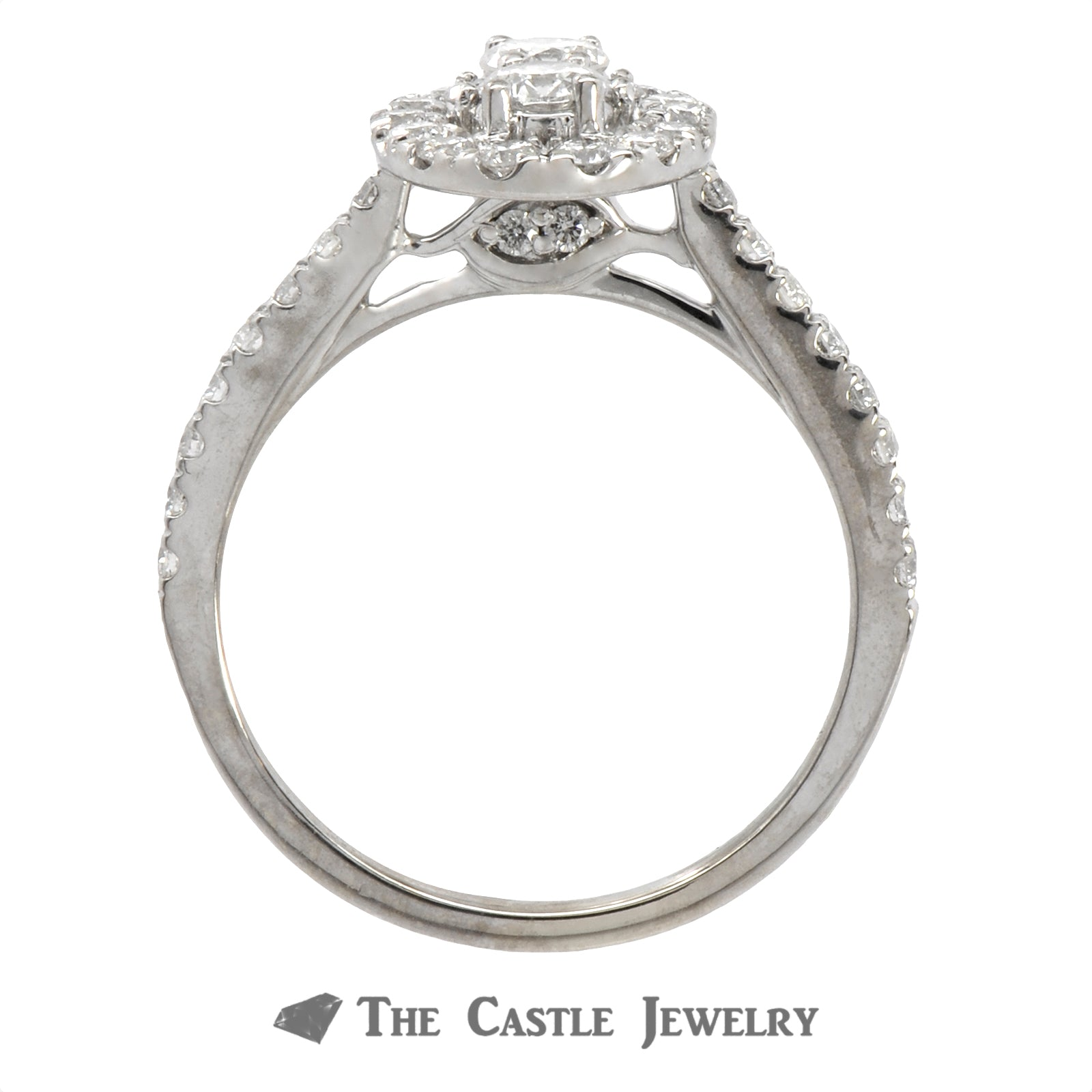 Double Diamond Halo Ever Us Engagement Ring with Diamond Accents in 14k White Gold-1