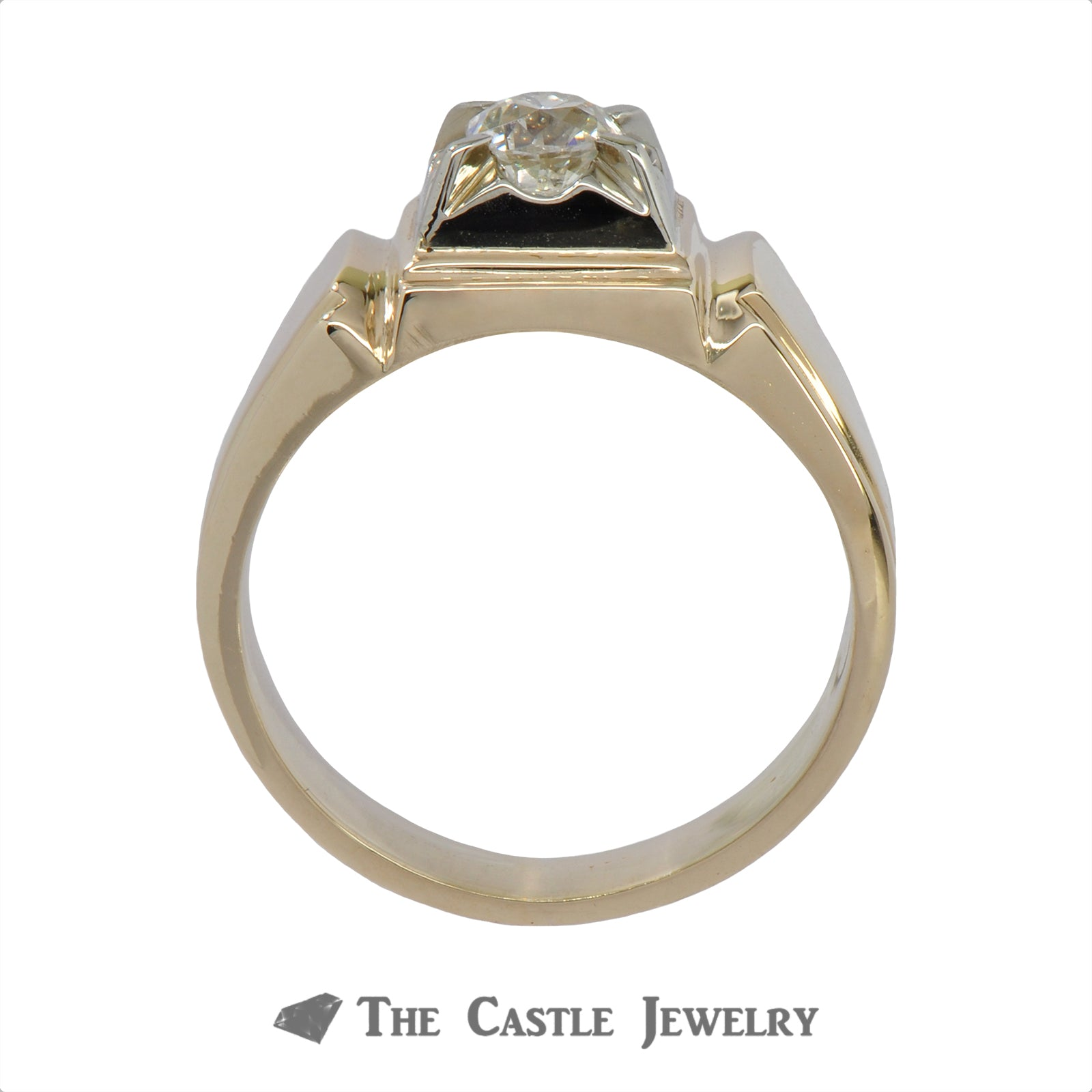 .50 Carat Old Mine Cut Gent's Diamond Ring In 14k Yellow Gold-1