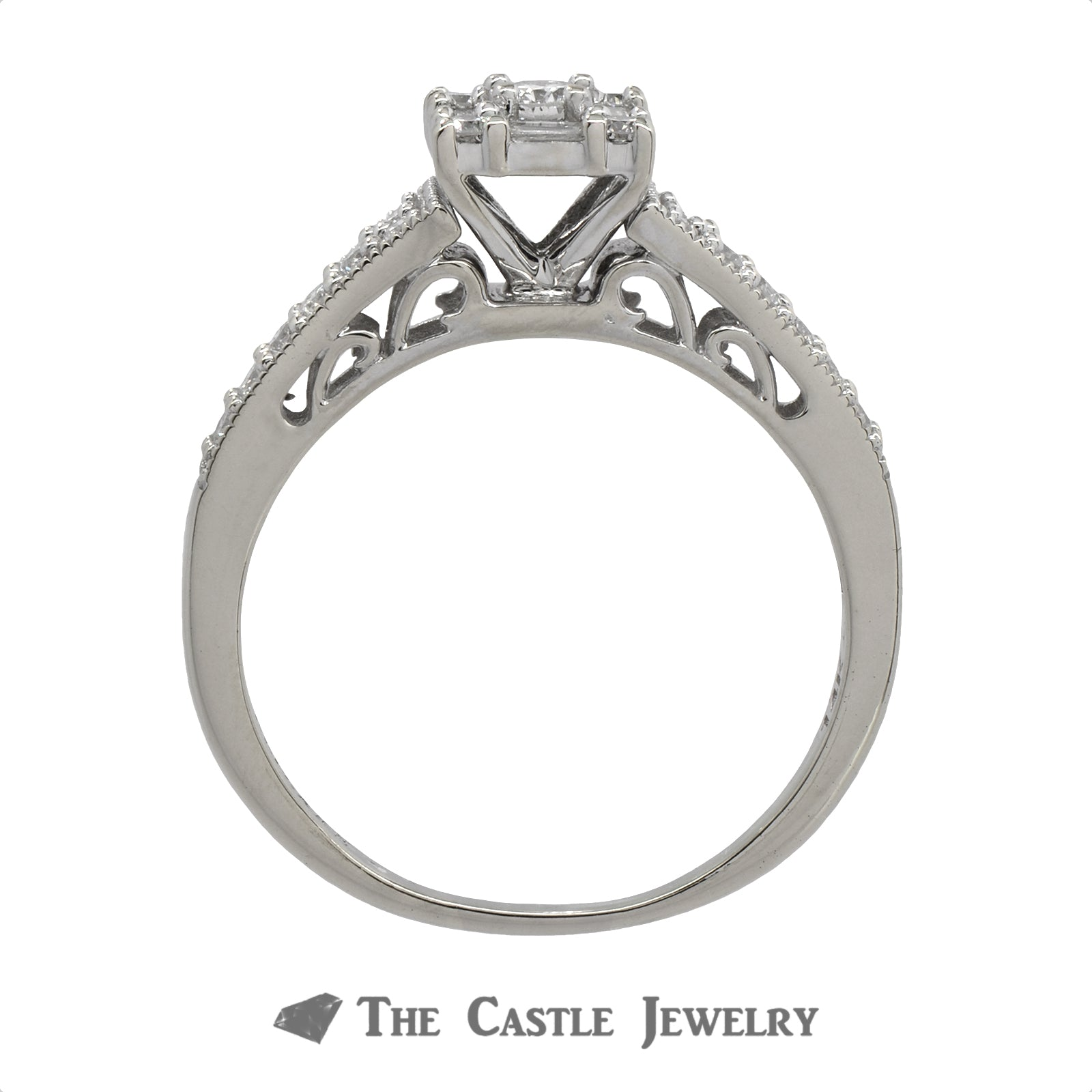 Square Shaped Diamond Engagement Ring .50cttw In 14K White Gold-1