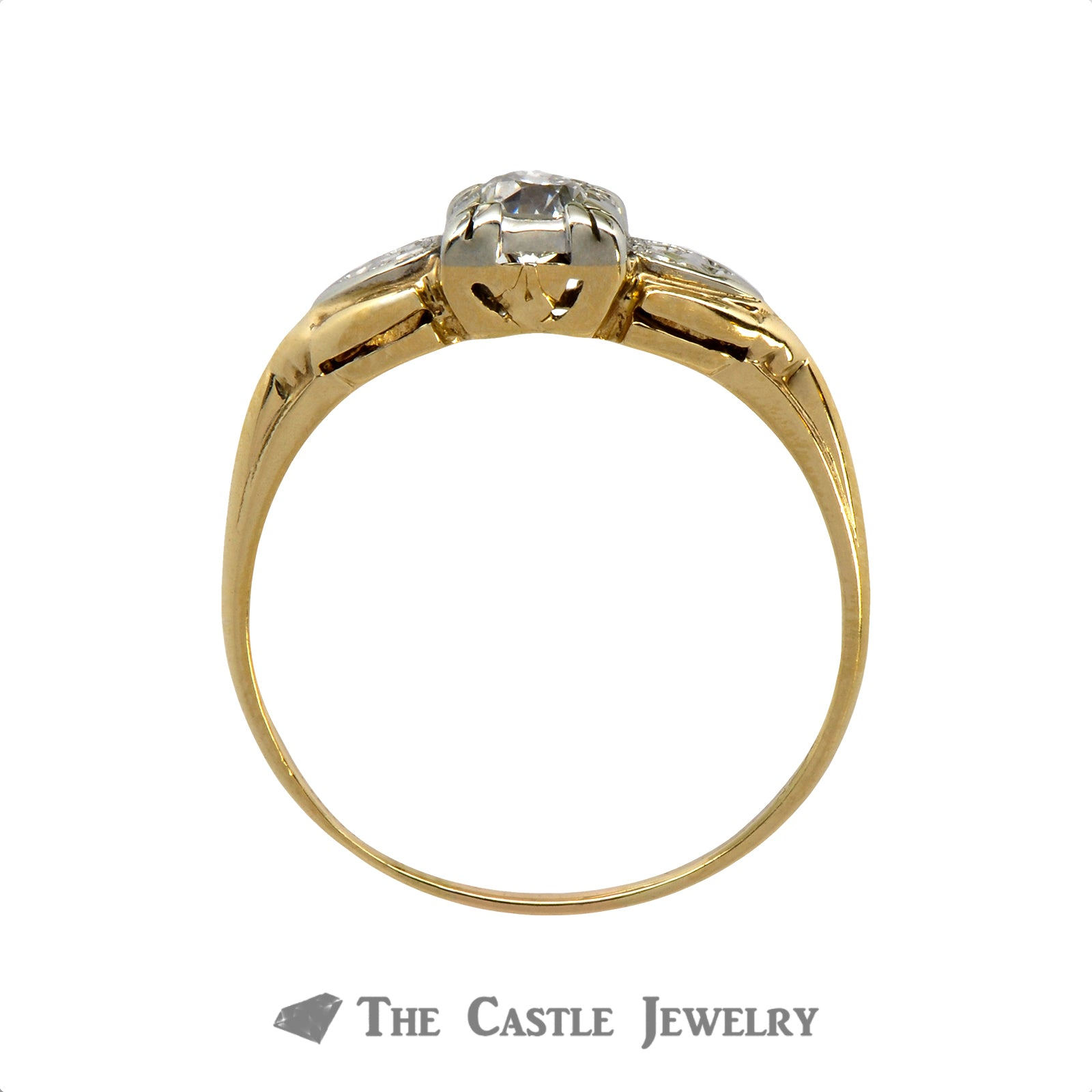 .30ct Old European Cut Diamond Solitaire Engagement Ring in 14k Two-Tone Gold-1