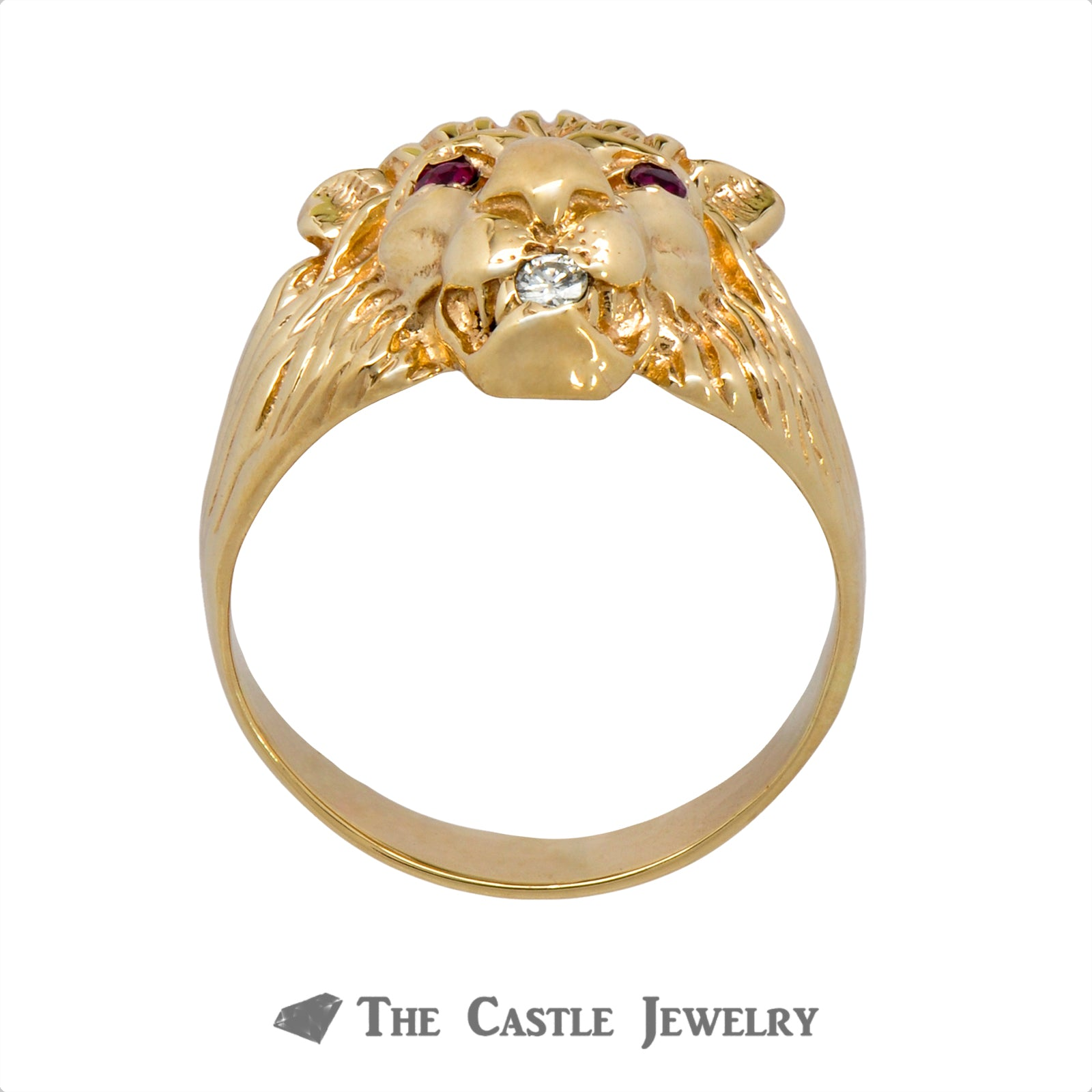 Men's Ruby & Diamond Lion Head Ring in 14k Yellow Gold-1