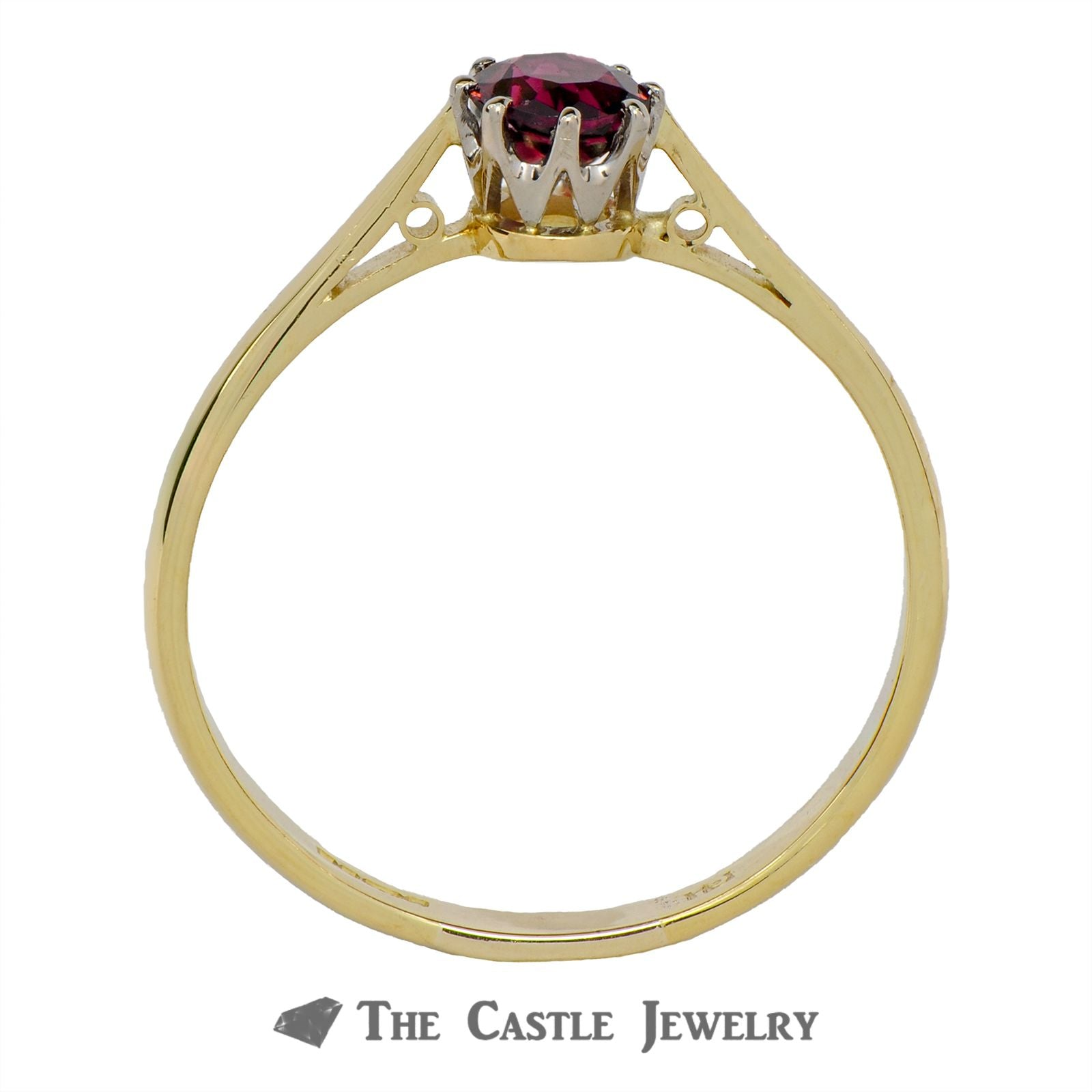 Solitaire Pink Tourmaline Ring In 18K Yellow Gold-1