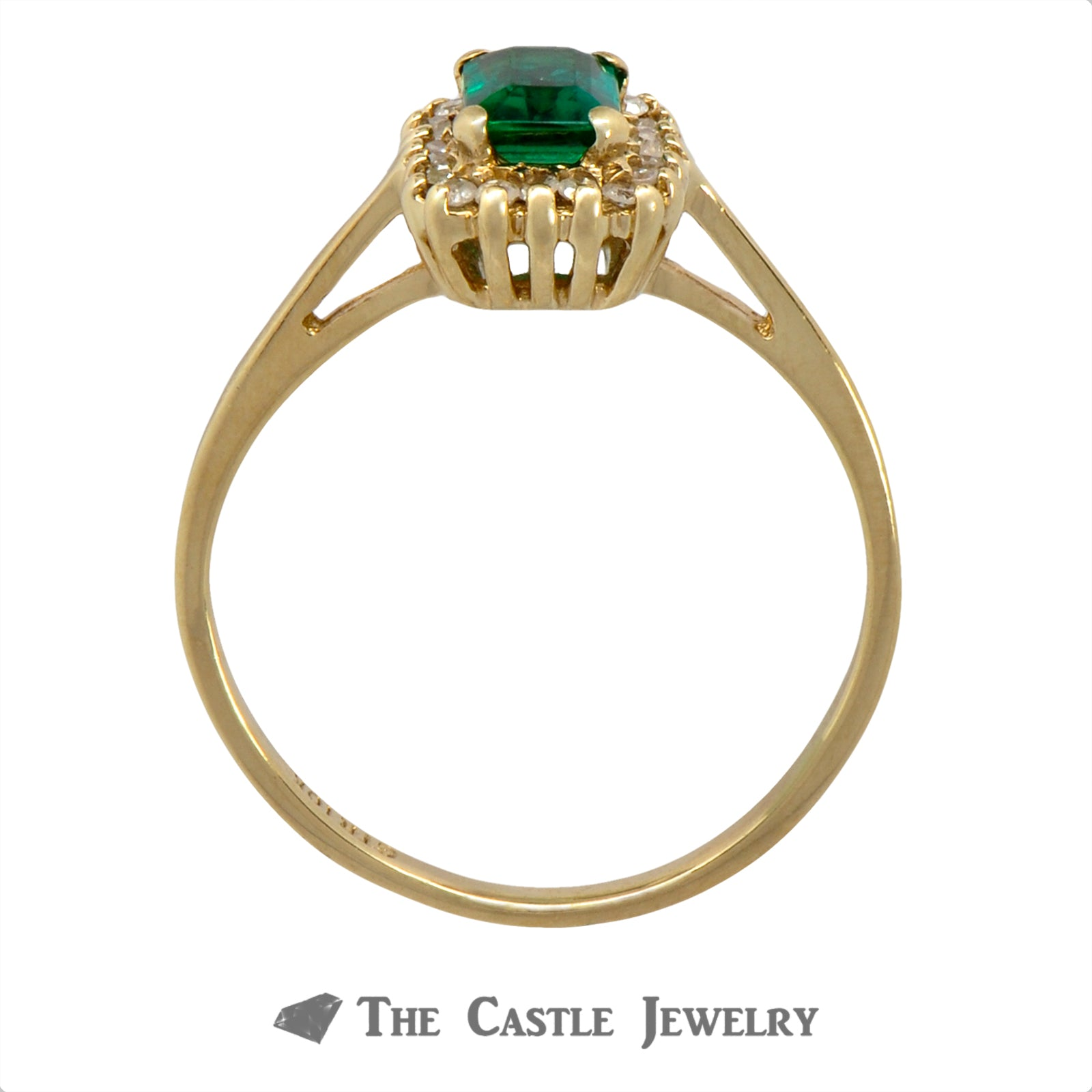 Emerald Ring with Round Brilliant Cut Diamond Halo Crafted in 10k Yellow Gold-1