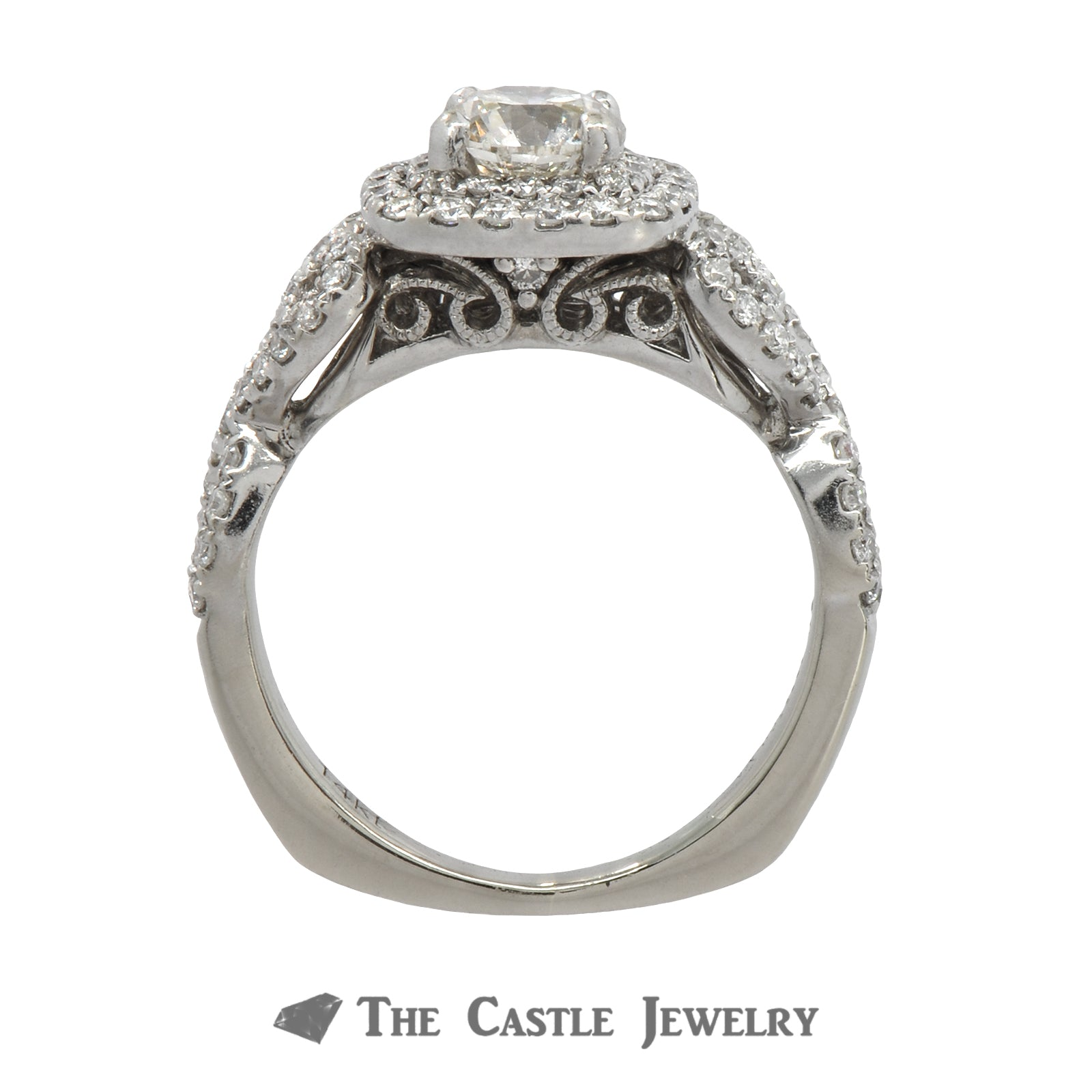 Diamond Engagement Ring With 1cttw Diamond Halo & Accents In 14k White Gold-1