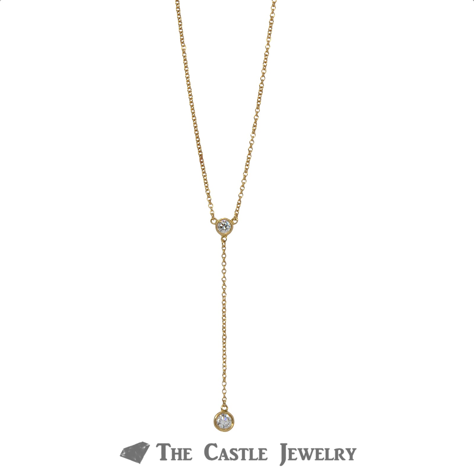 Tiffany & Co. Delicate Drop Necklace with .25cttw Diamonds in 18k Yellow Gold