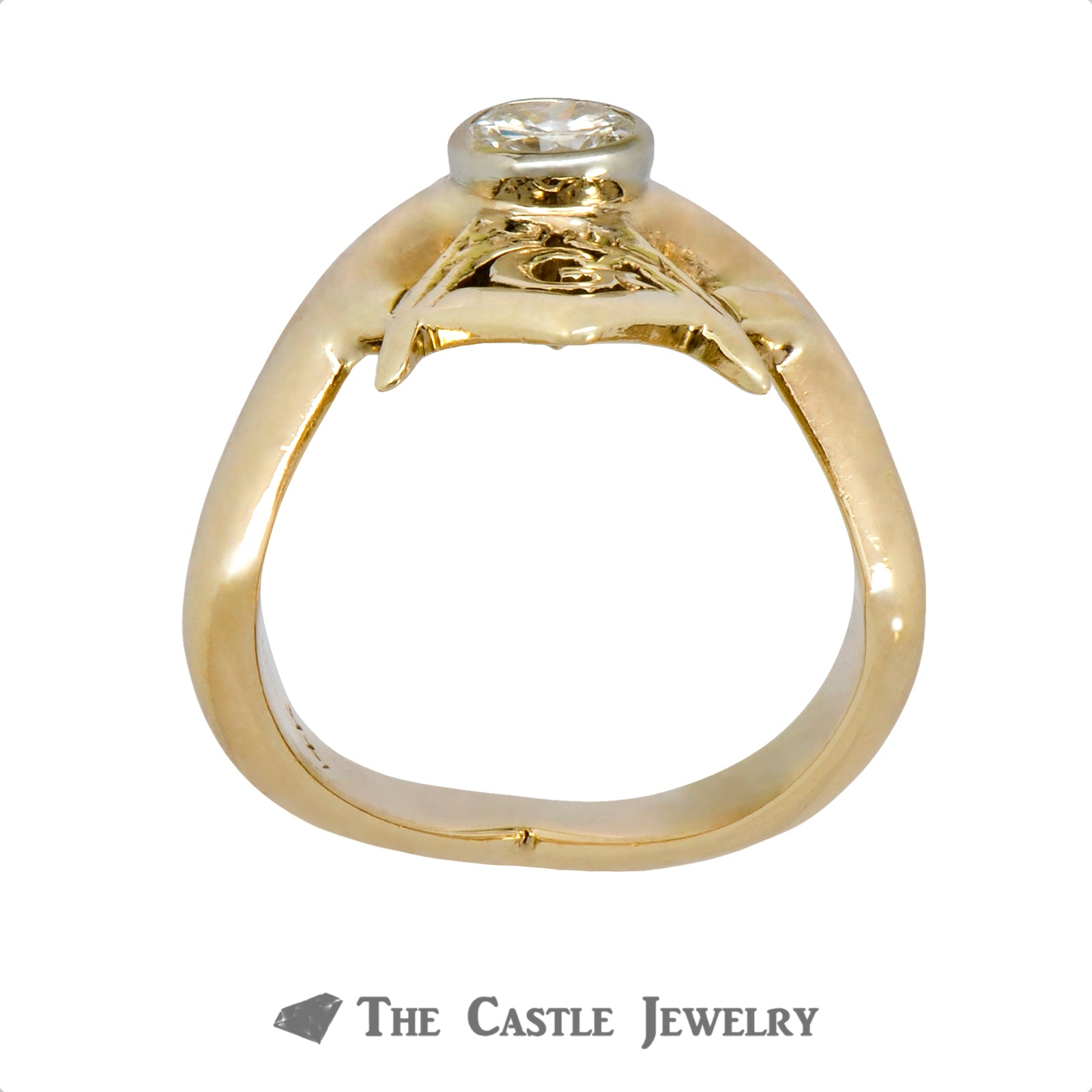"Men's ""V"" Shaped Designed Diamond Masonic Ring in 14k Yellow Gold"