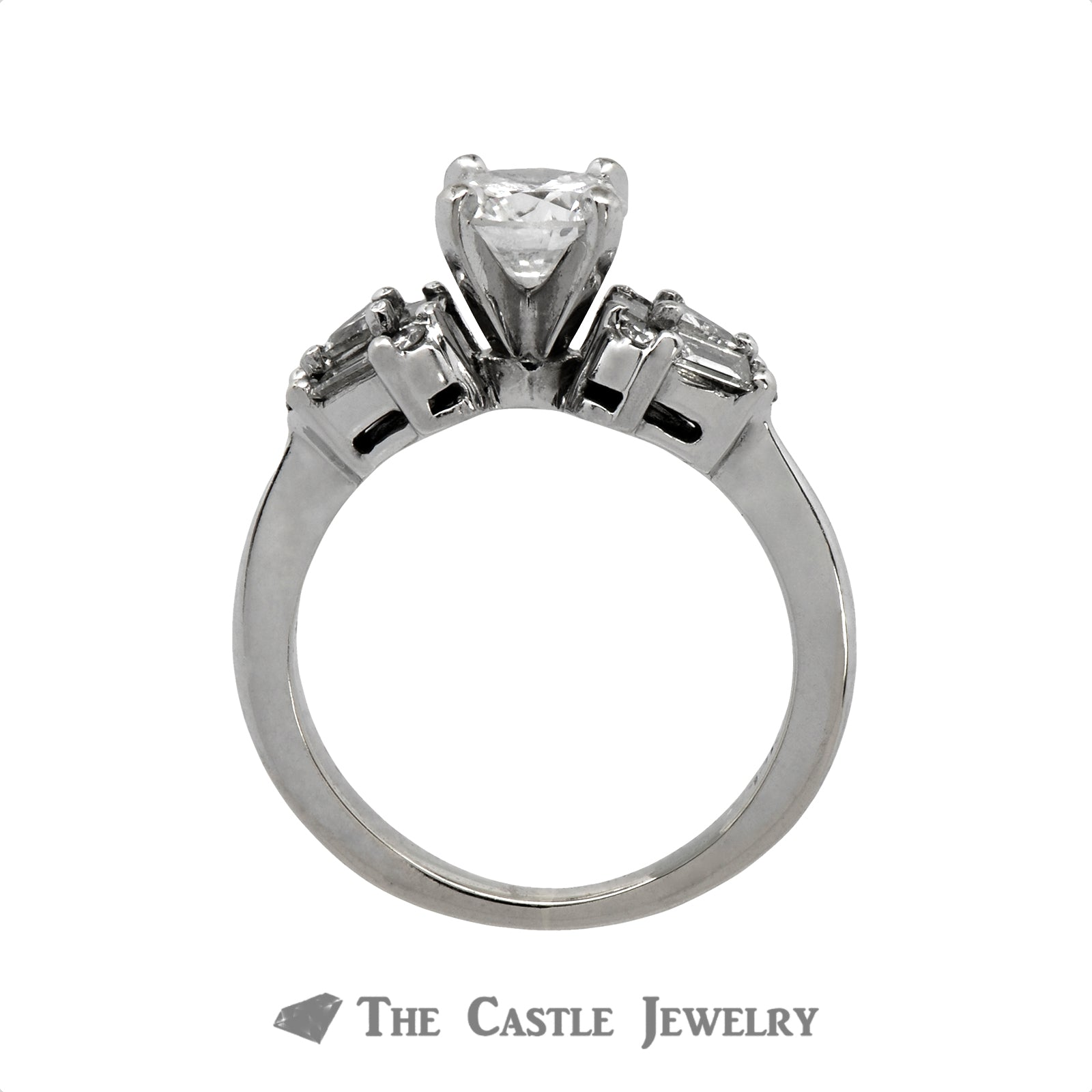 1.25cttw Diamond Engagement Ring with Baguette, Trillion and Round Cut Accents in 14k White Gold-1