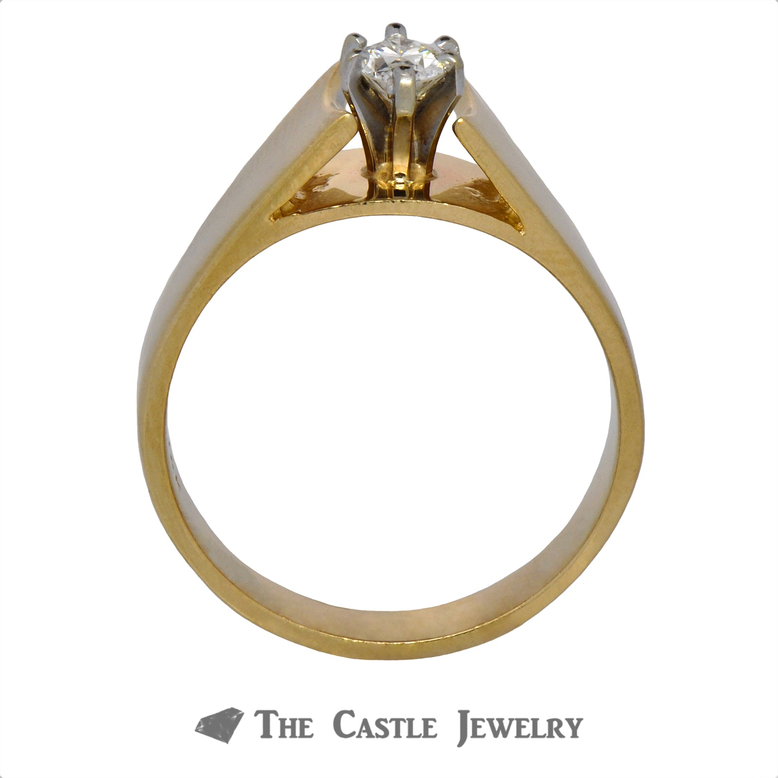 Solitaire Marquise Diamond Ring in Cathedral Mounting