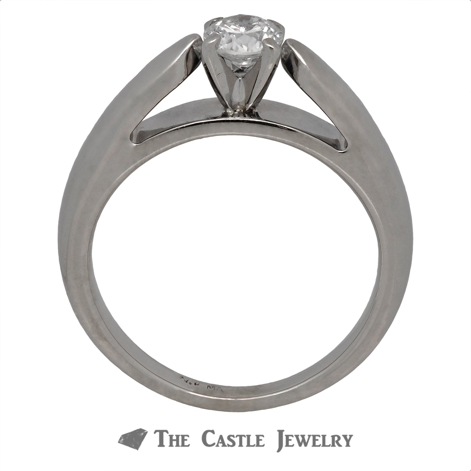 Round Brilliant Cut Solitaire Engagement Ring in Cathedral Mounting-2