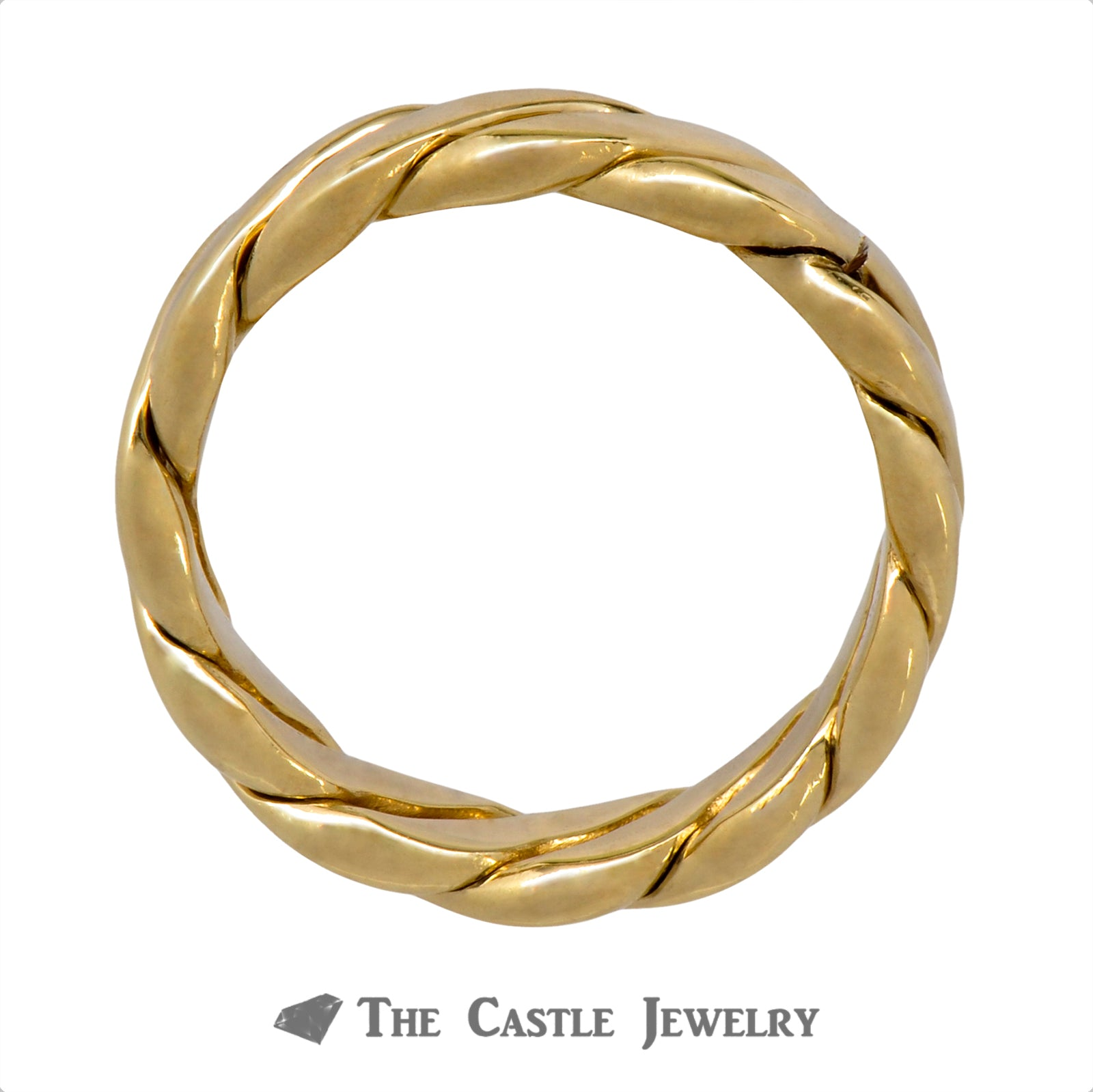 Men's 14k Yellow Gold 6.5mm Twisted Designed Band-1