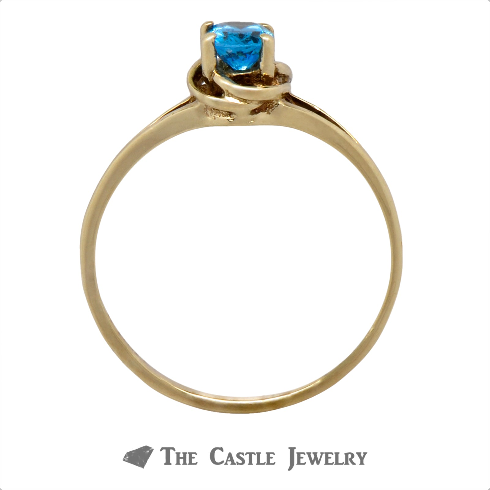 Oval Cut Blue Topaz Ring with Knot Designed Split Shank Mounting-1