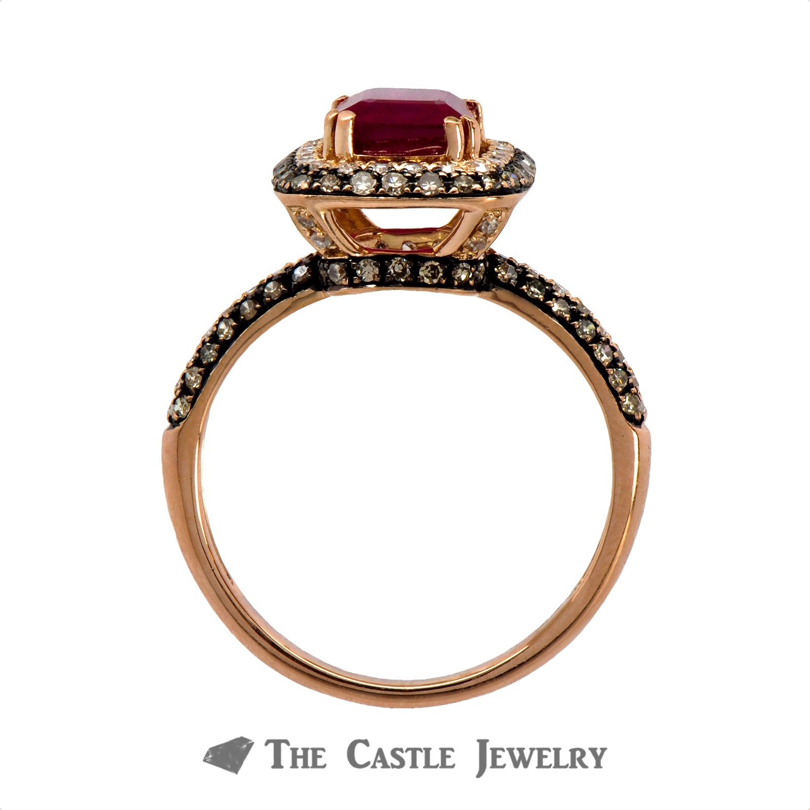 Effy Emerald Cut Ruby Ring with White and Chocolate Diamonds in 14k Rose Gold-1