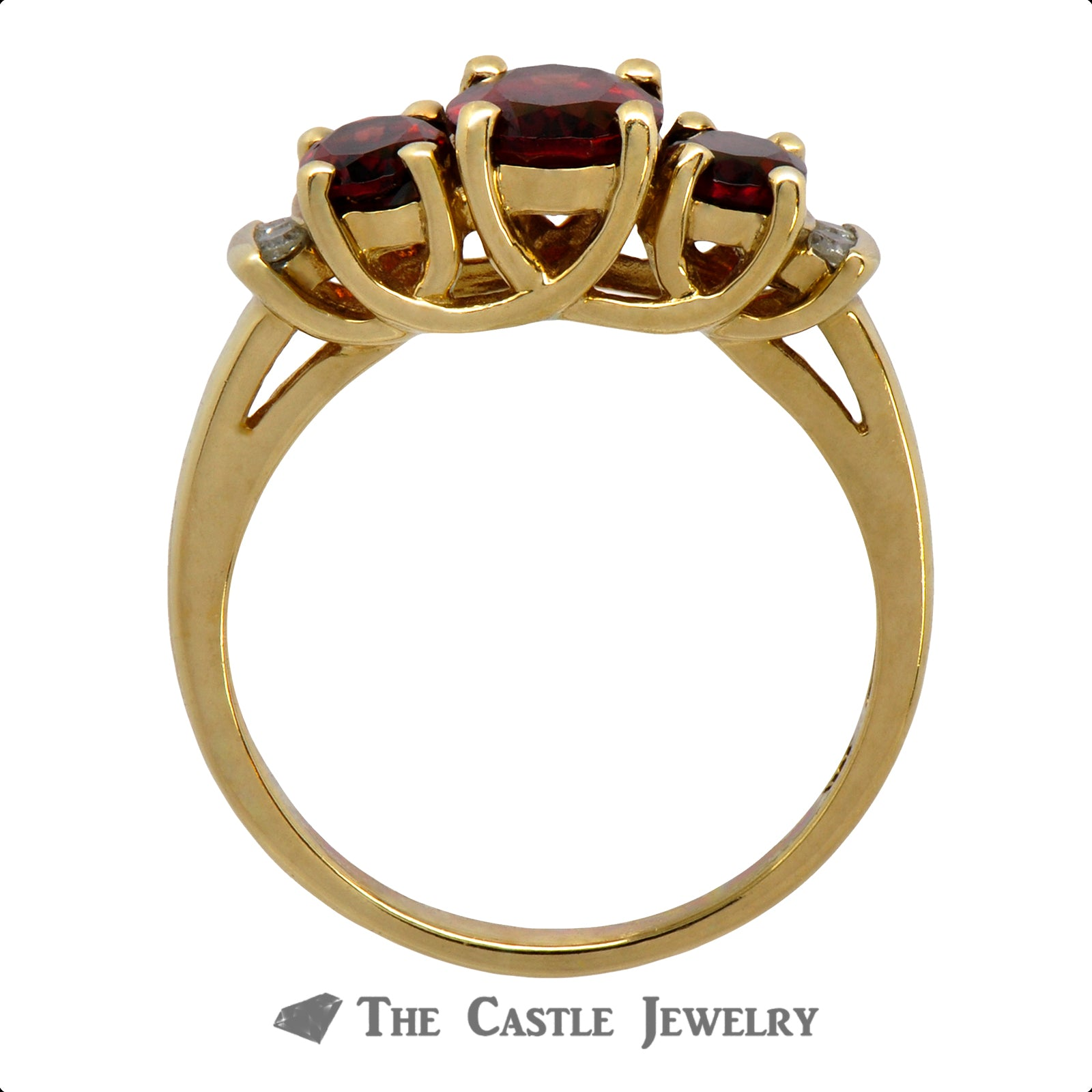 Triple Oval Garnet Ring with Diamond Accents in 10k Yellow Gold-1