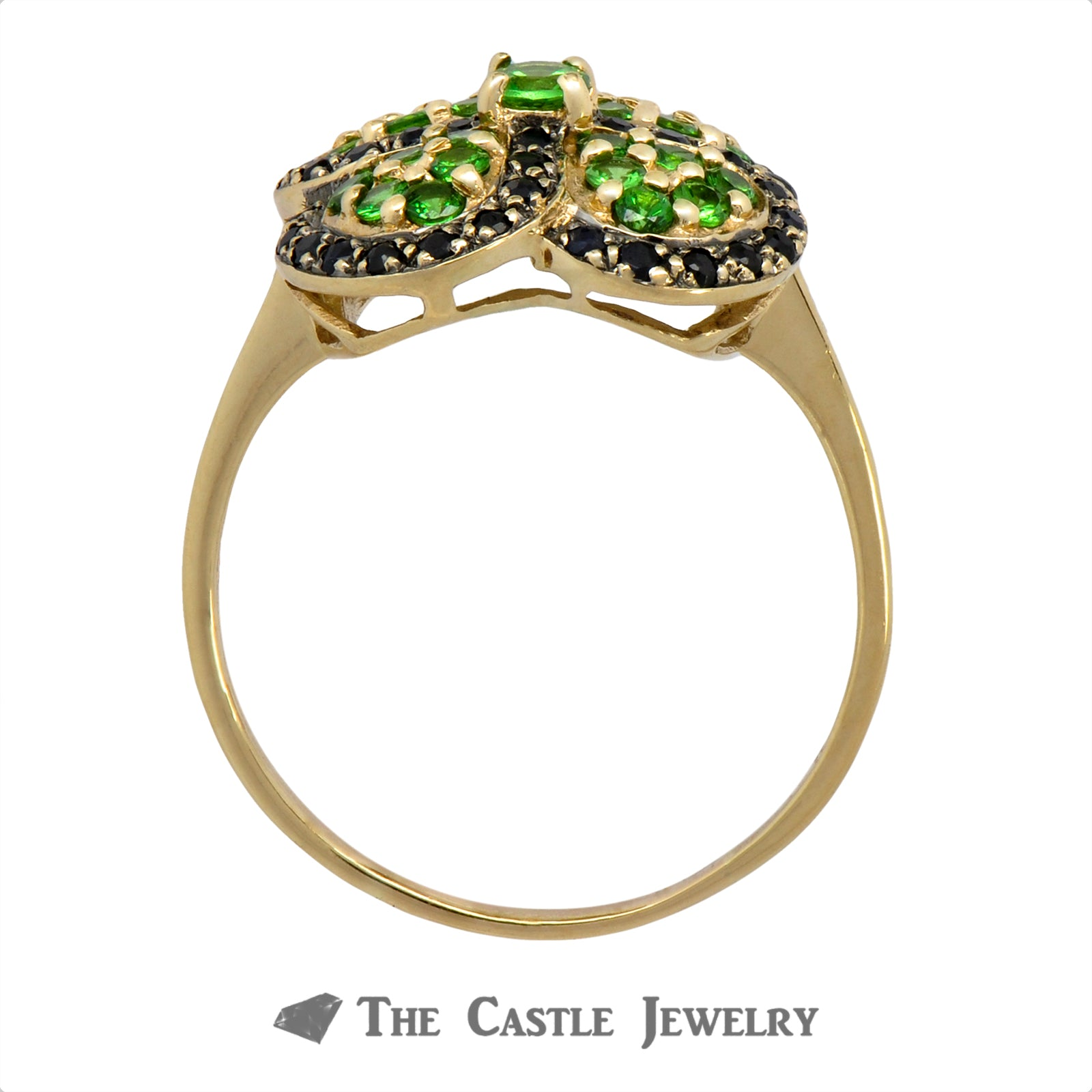 Sapphire and Tsavorite Garnet Clover Cluster Ring in 10k Yellow Gold-1