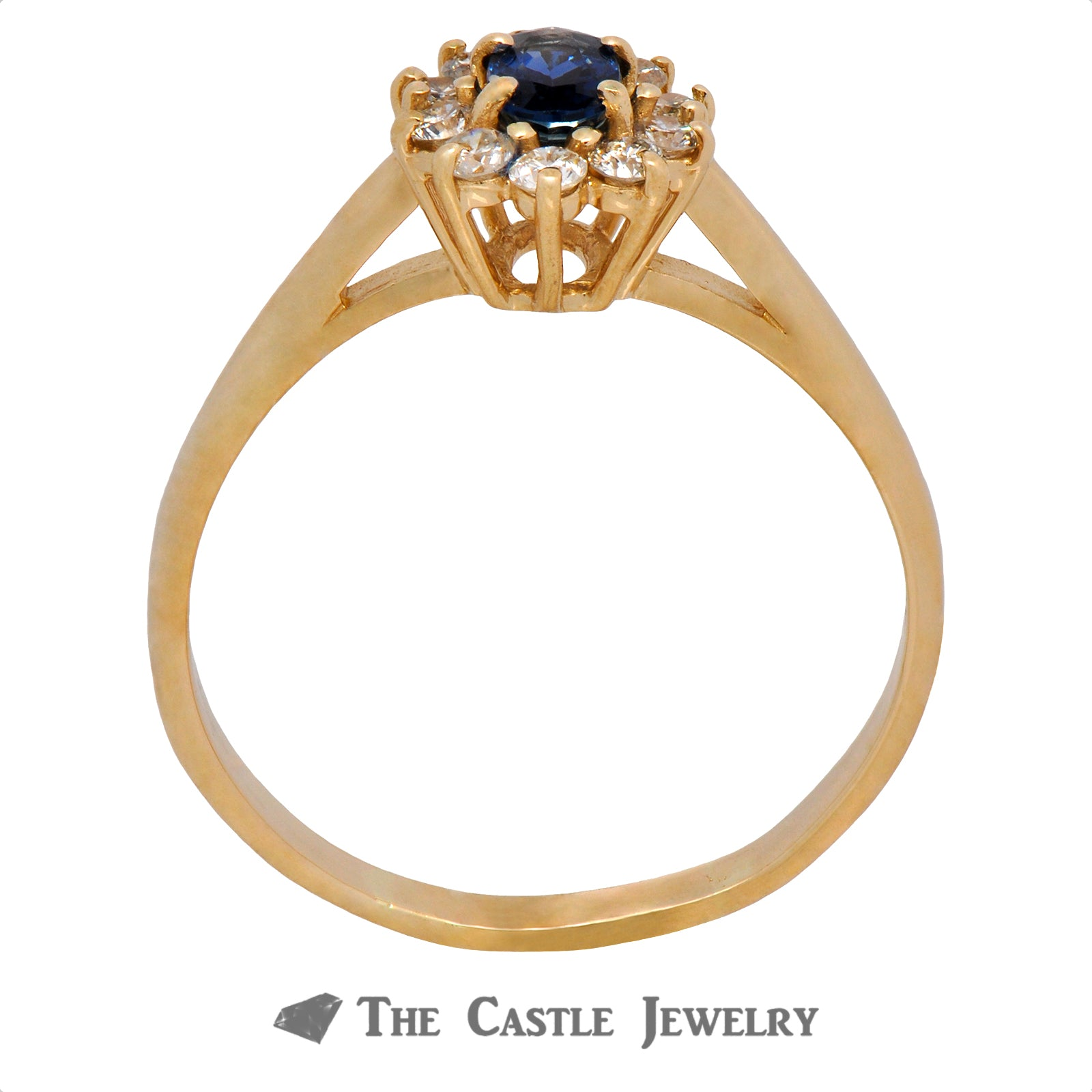 Oval Cut Sapphire Ring with Round Diamond Halo
