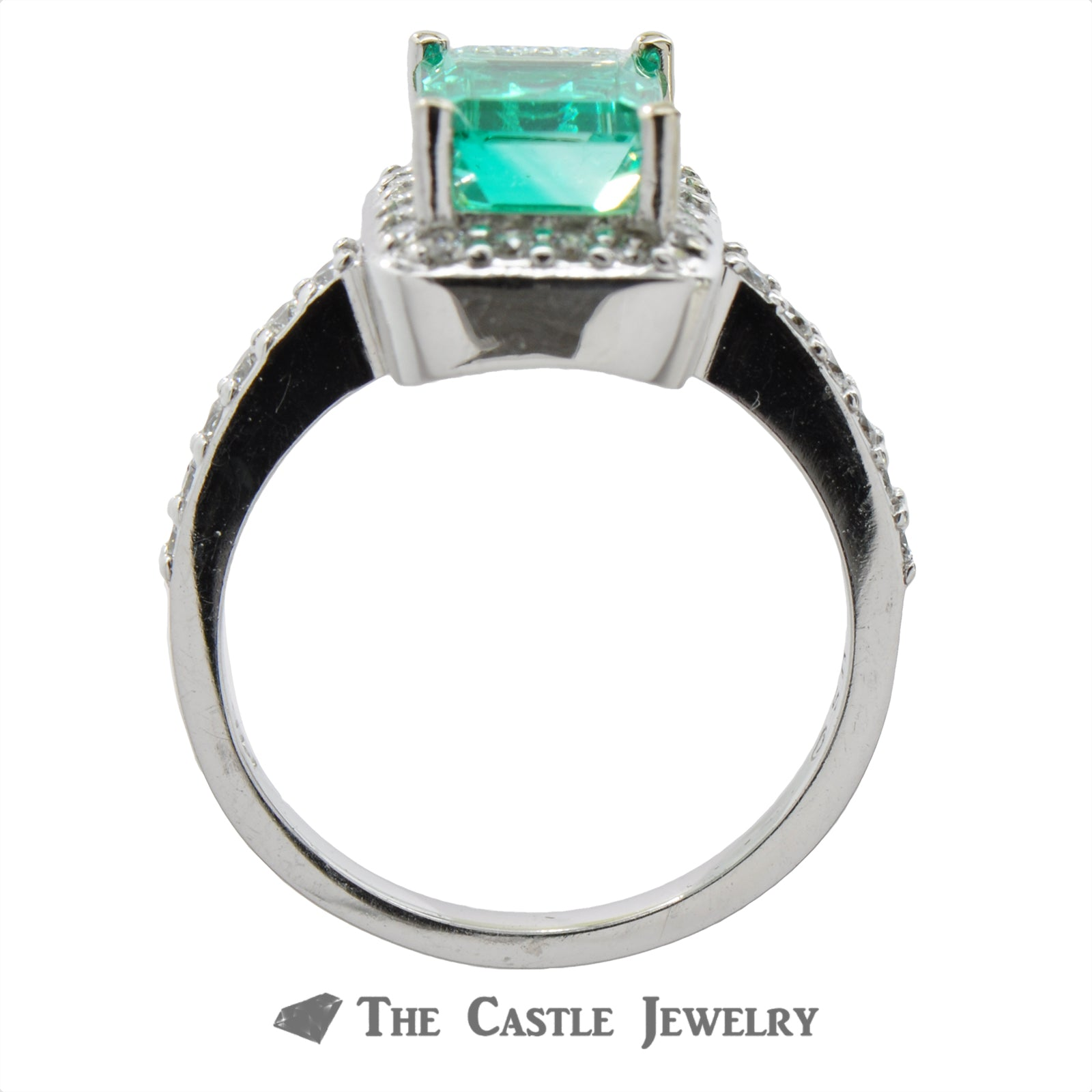 Stunning Emerald Cut Emerald with a Diamond Halo in 14K White Gold-1