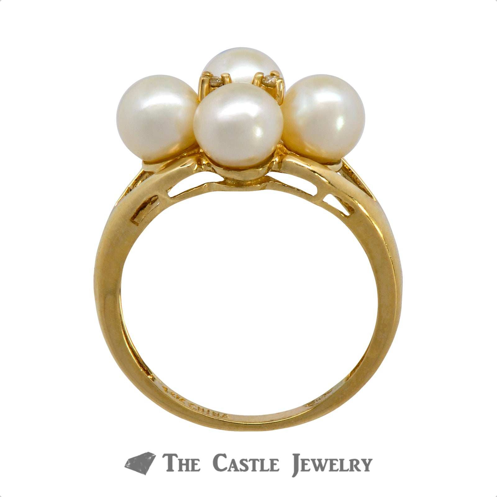 Quadruple 5.5mm Pearl Ring with Diamond Accents Crafted in 14k Yellow Gold-1