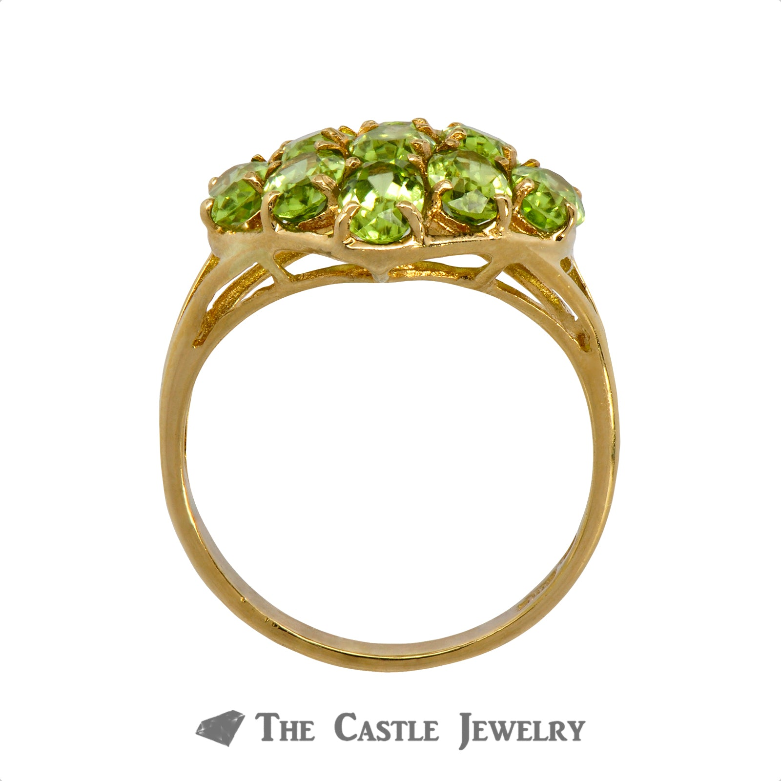 Oval Cut Peridot Cluster Ring Crafted in 10k Yellow Gold-1