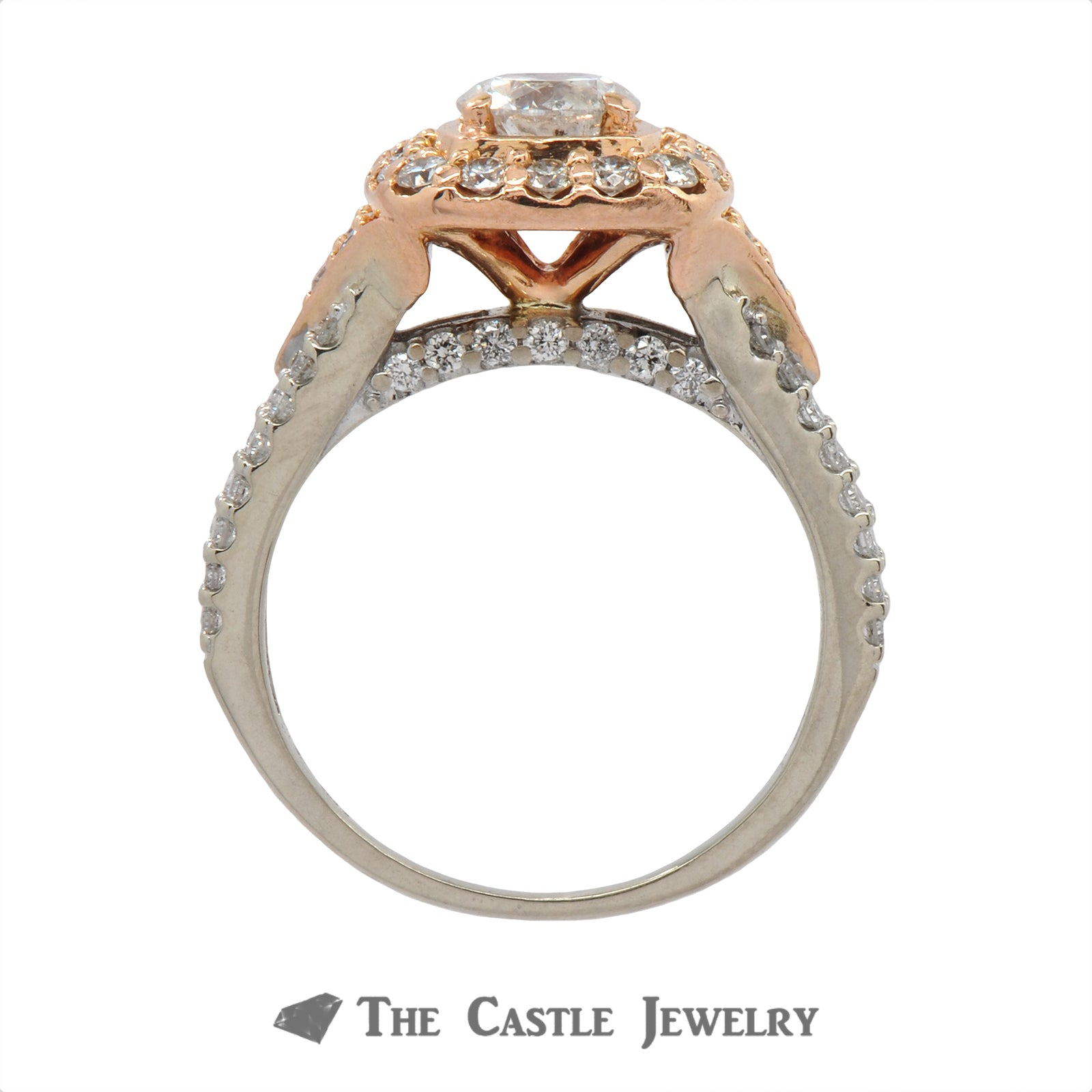 1.25cttw Diamond Engagement Ring with Halo & Accents In 14K Rose And White Gold-2