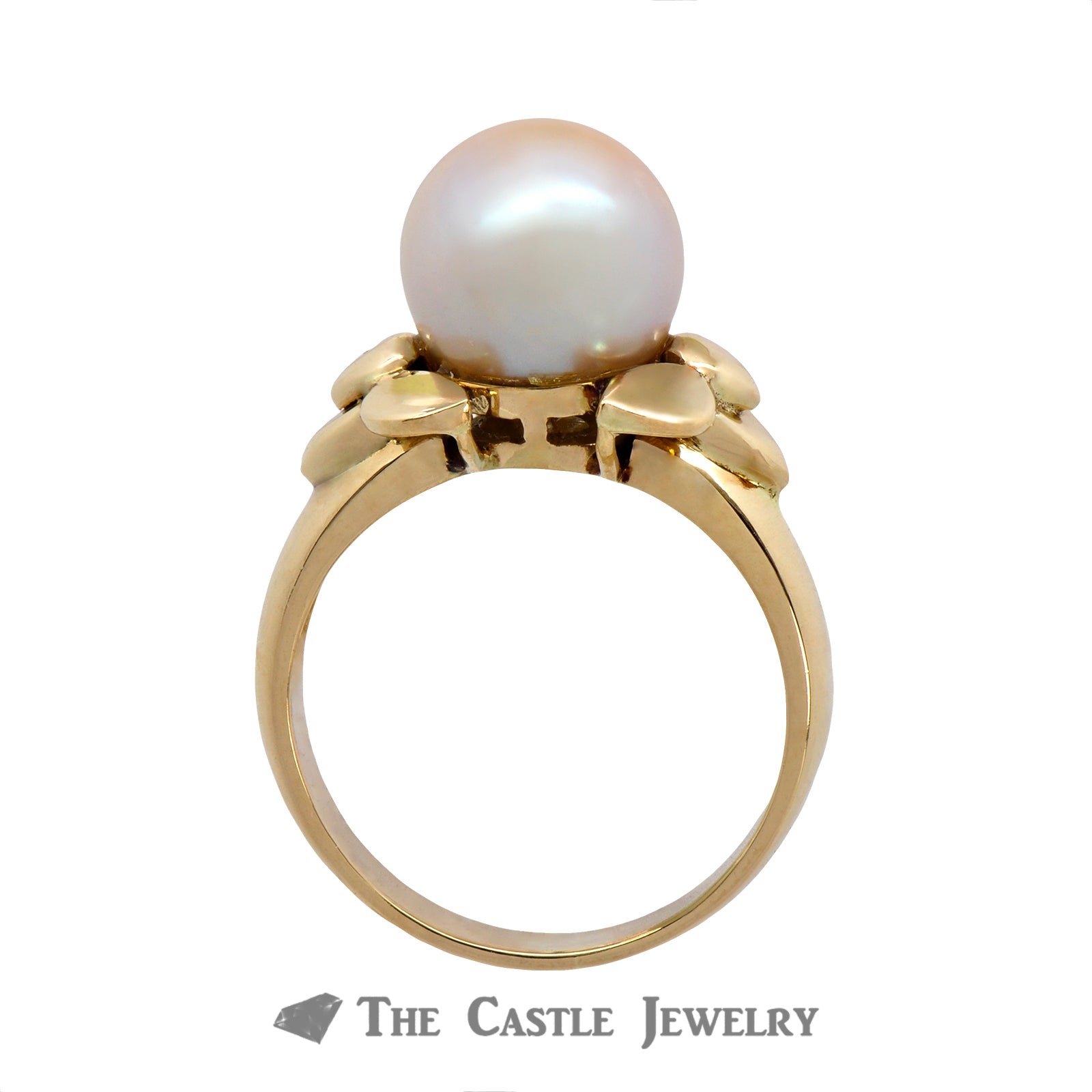 Pearl Ring with Fancy Bow Design Sides in 14K Yellow Gold
