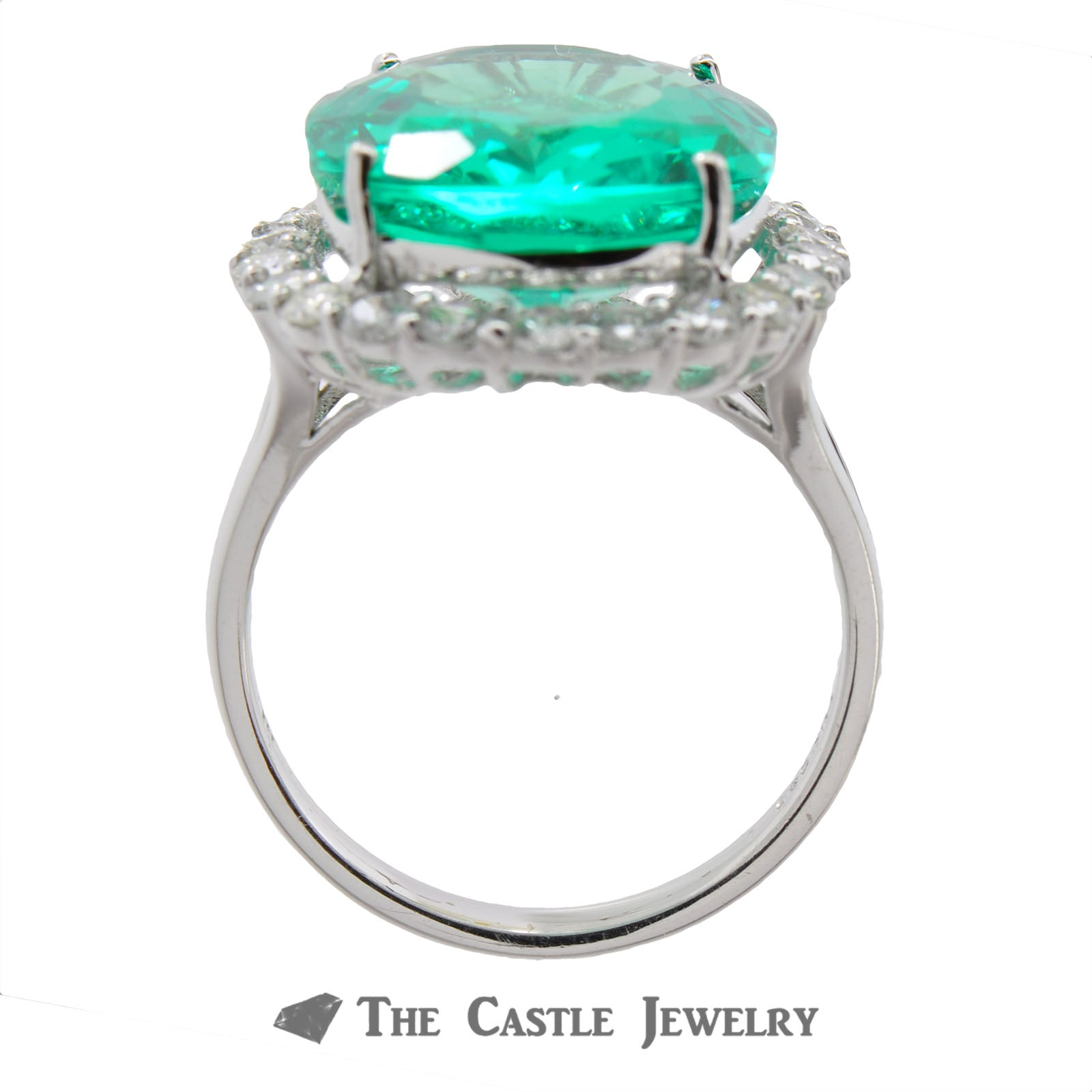 Synthetic Light Green Russian Green Beryl Ring with Diamond Halo-1