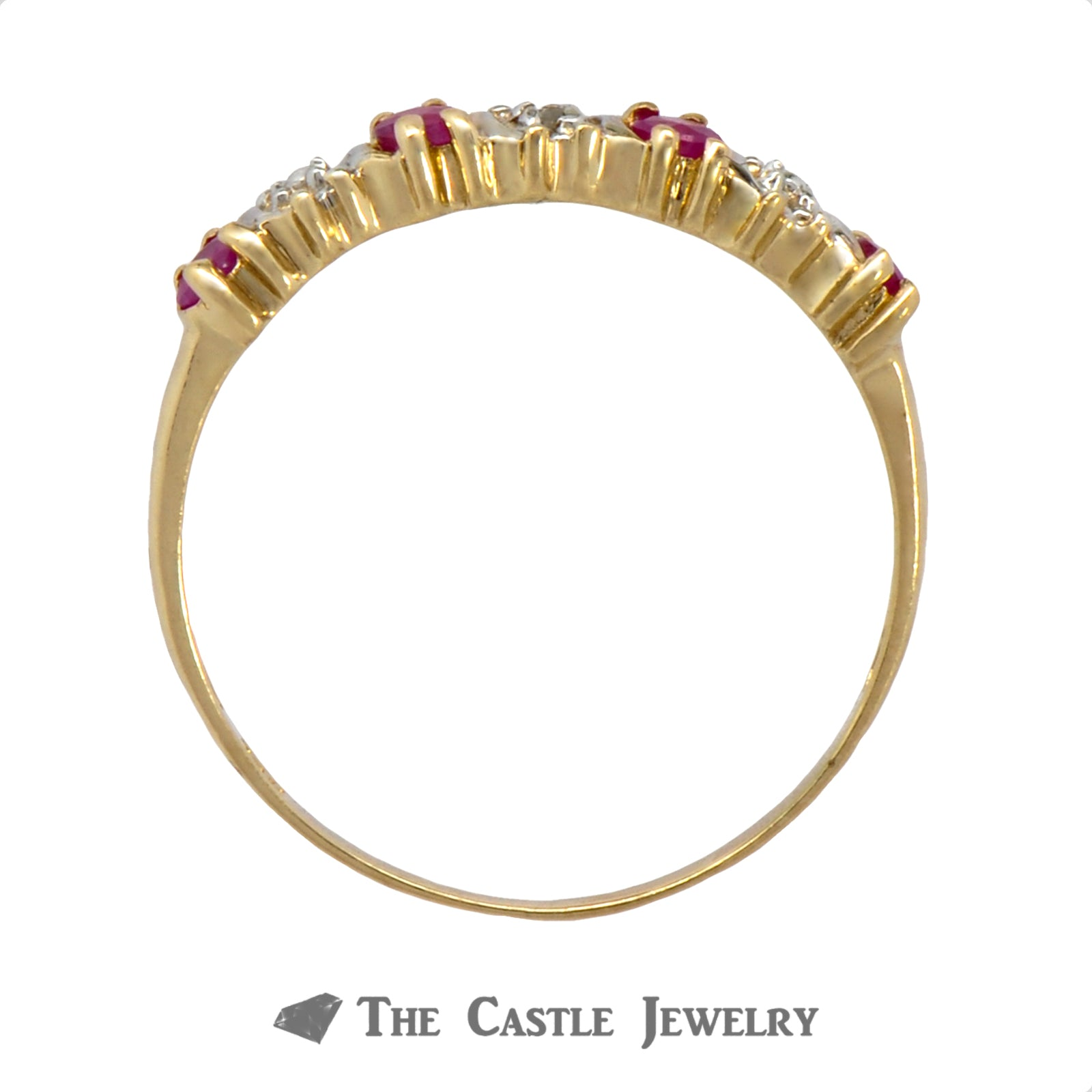 Women's Four Ruby & Diamond Ring Crafted in 10k Yellow Gold-1