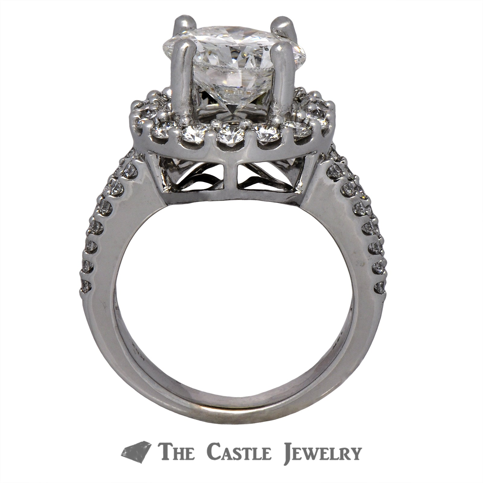 Laser Drilled 4ct Round Diamond Engagement Ring SI3/G 14K White Gold-1