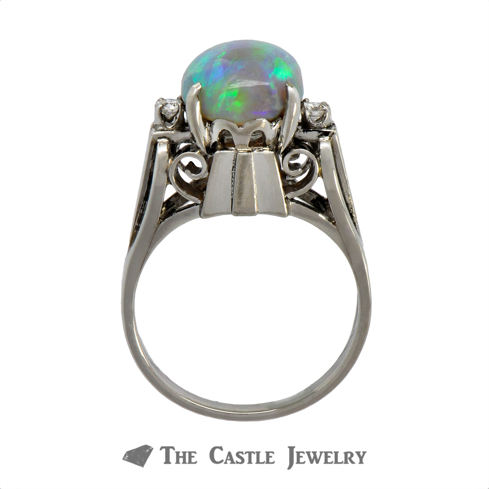 Vintage Opal Ring with Diamond Accents Crafted in a Platinum Cathedral Mounting-1