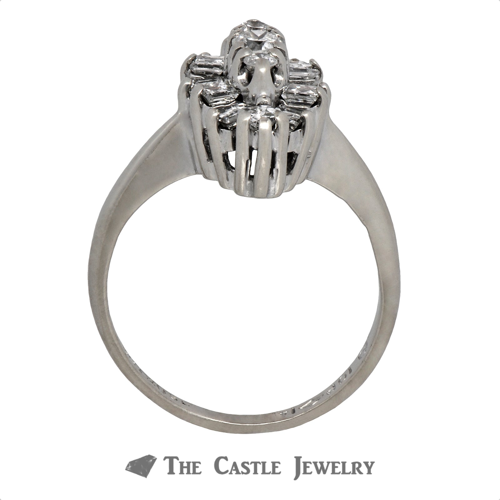Marquise Shaped Cluster Ring in 14K White Gold