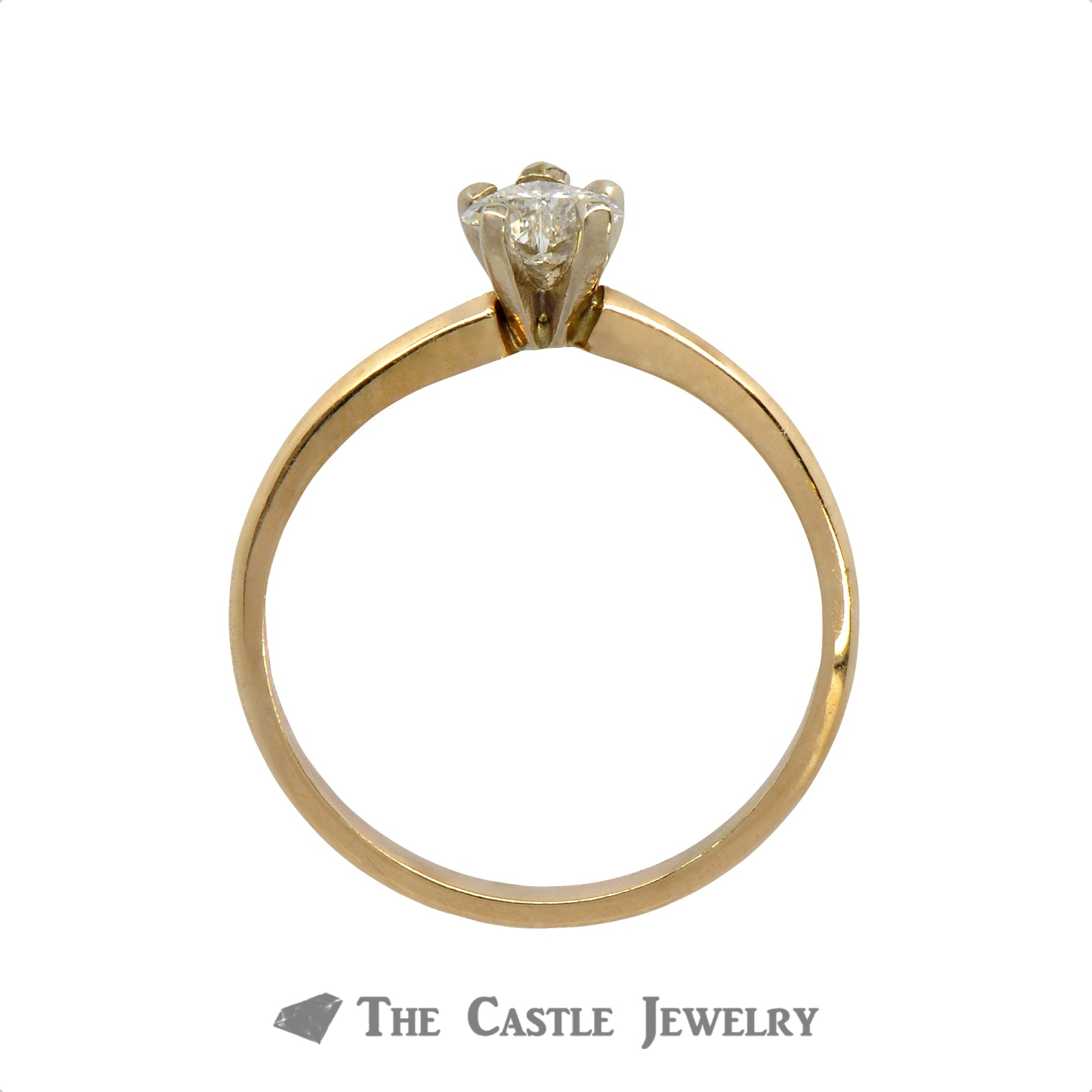 .30ct Heart Cut Diamond Solitaire Engagement Ring in 14k Yellow Gold-1