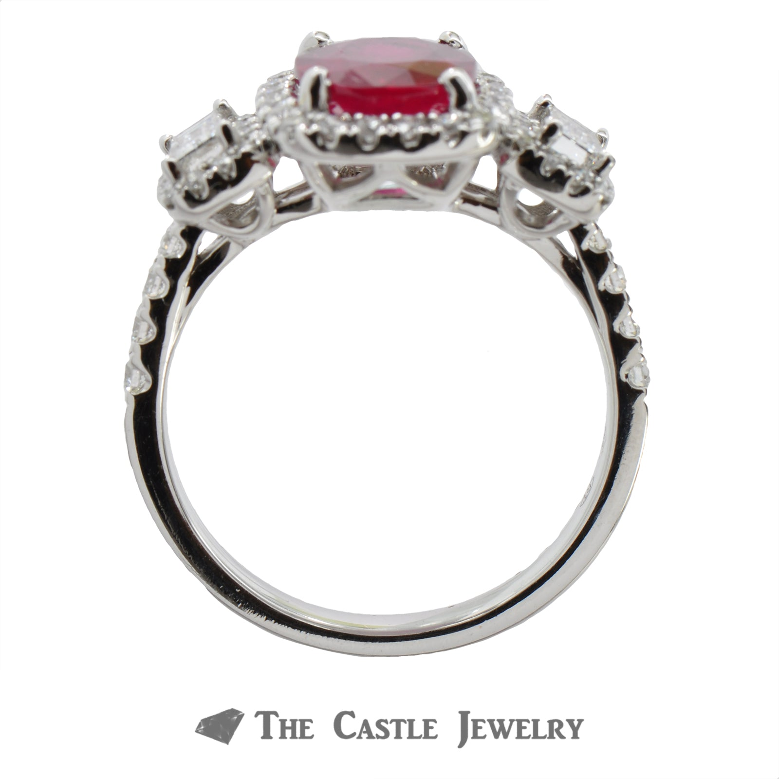 Deep Red Oval Ruby Ring with Emerald Cut Diamond Accents & Bezel-1
