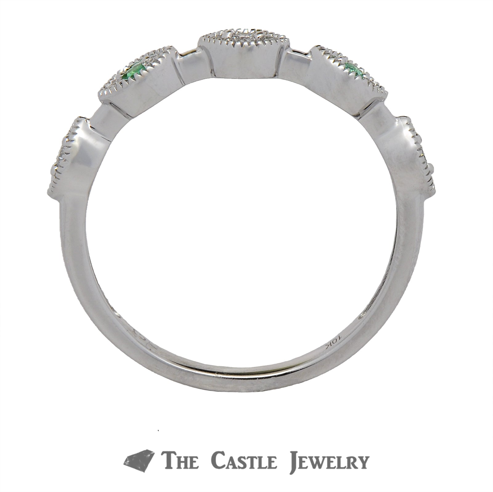 Emerald Stackable Ring with Diamond Accents in 10K White Gold-1