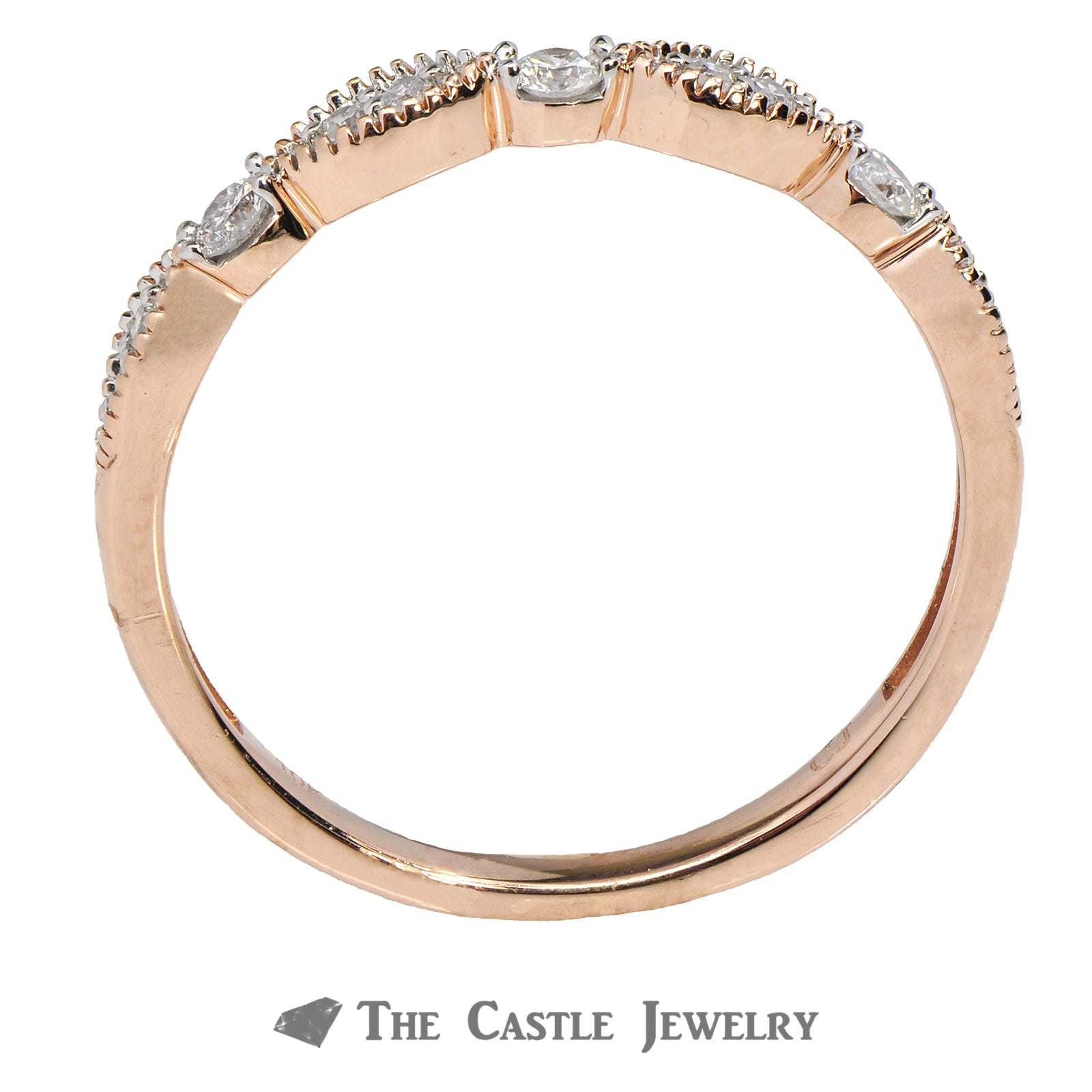 Diamond Layering Ring 1/5cttw in 14K Rose Gold Wave Design-1