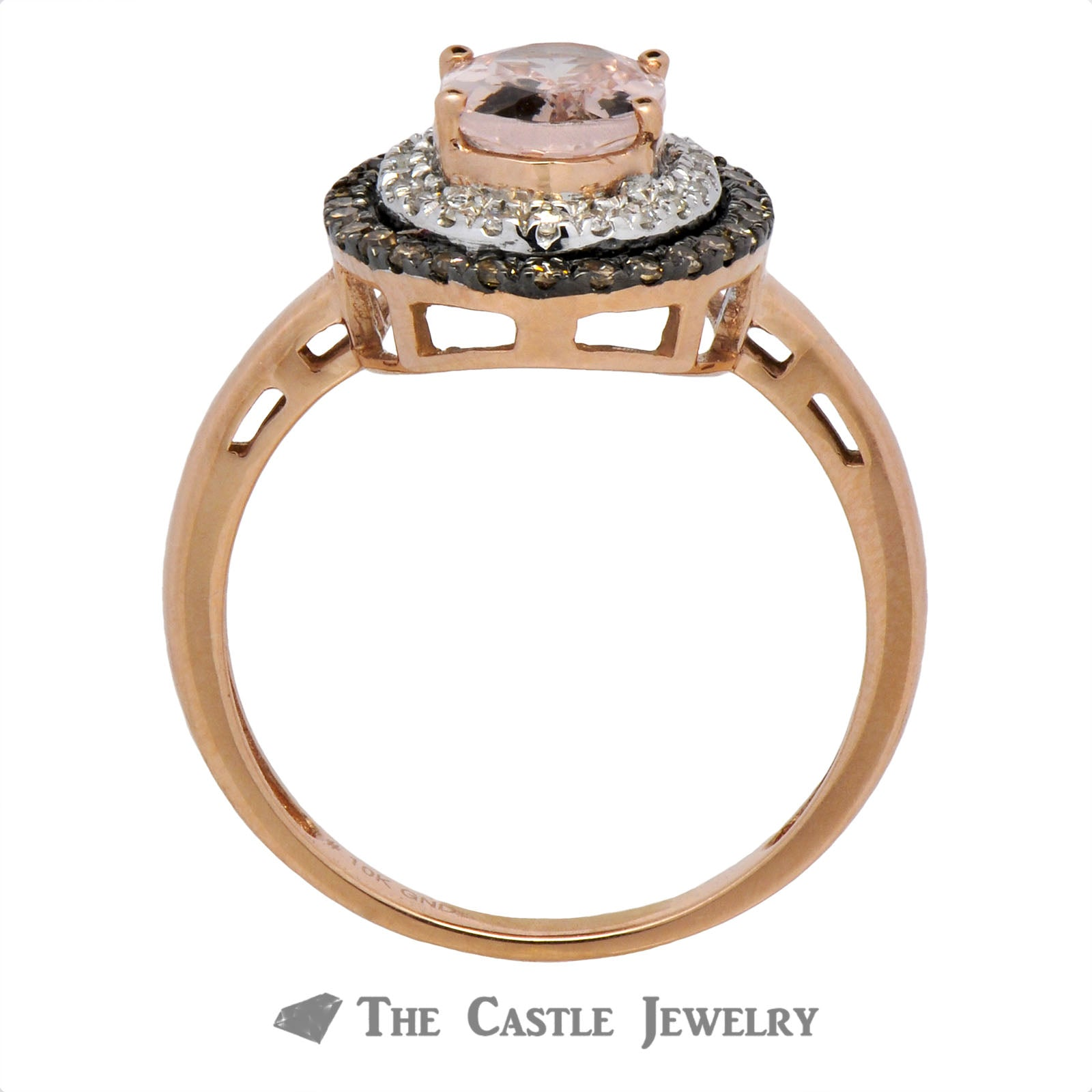 Double Halo Oval Morganite Ring with Round Chocolate Diamonds-1