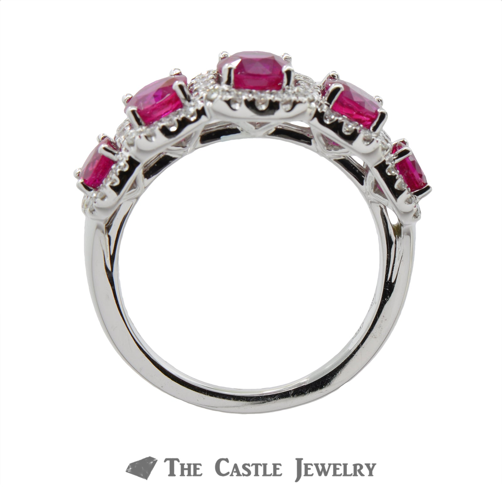 Ruby Ring with Cushion Shaped Diamond Bezel in 18K White Gold-1