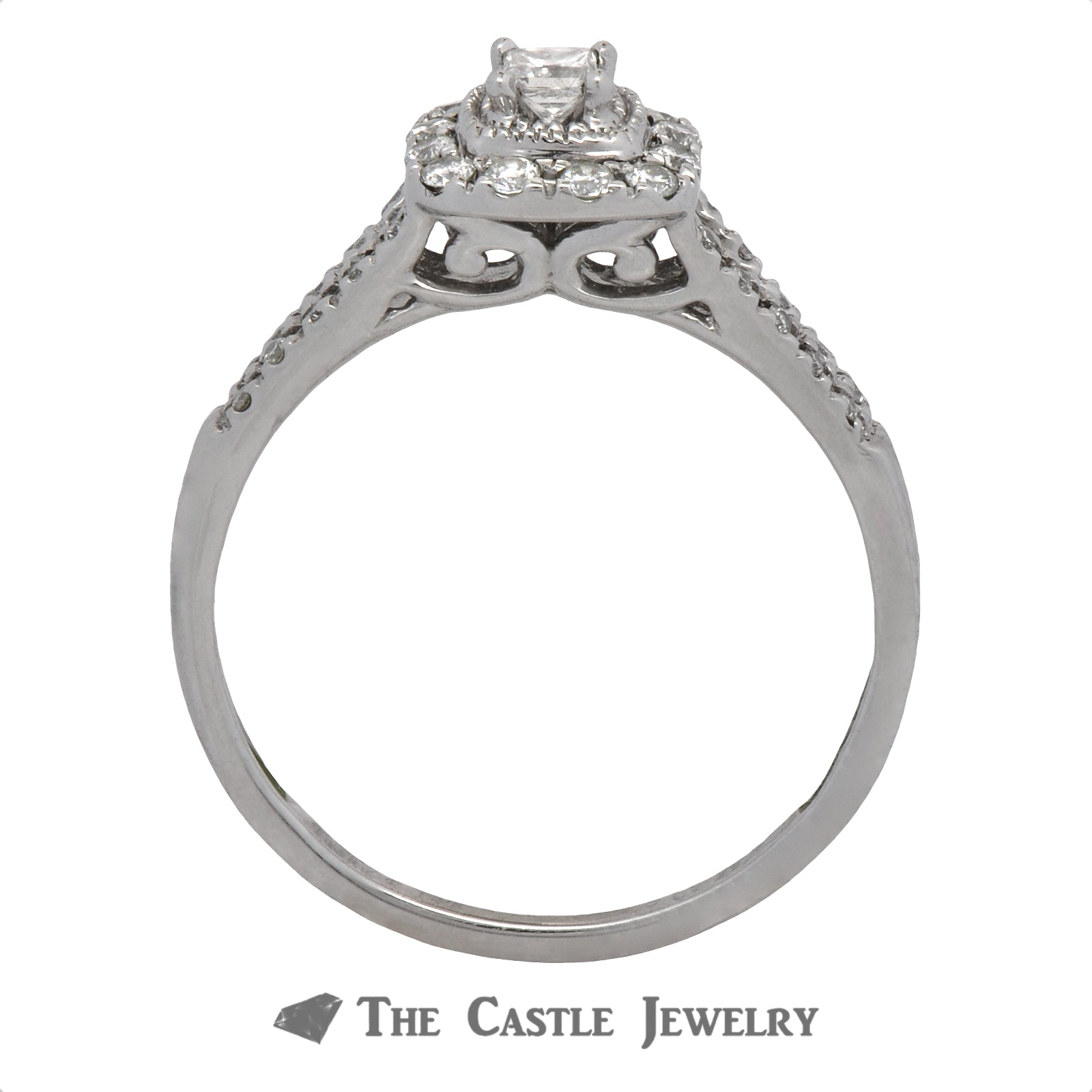 Crown Collection Princess Cut Diamond Halo Bridal Set with Split Shank-1