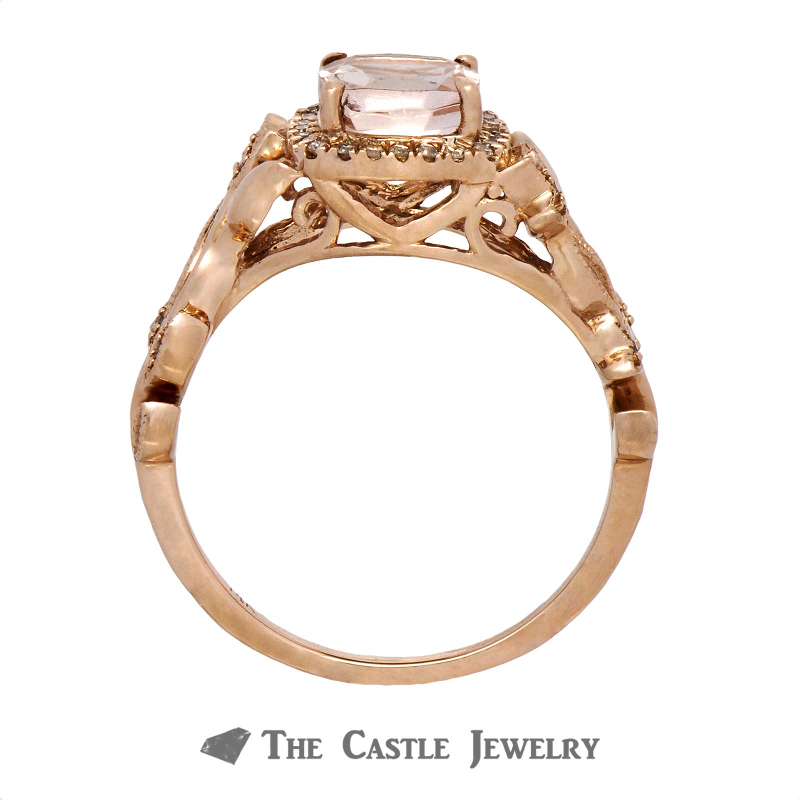 Cushion Cut Morganite Ring with Diamond Halo & Flower Design Rose Gold Mounting-1