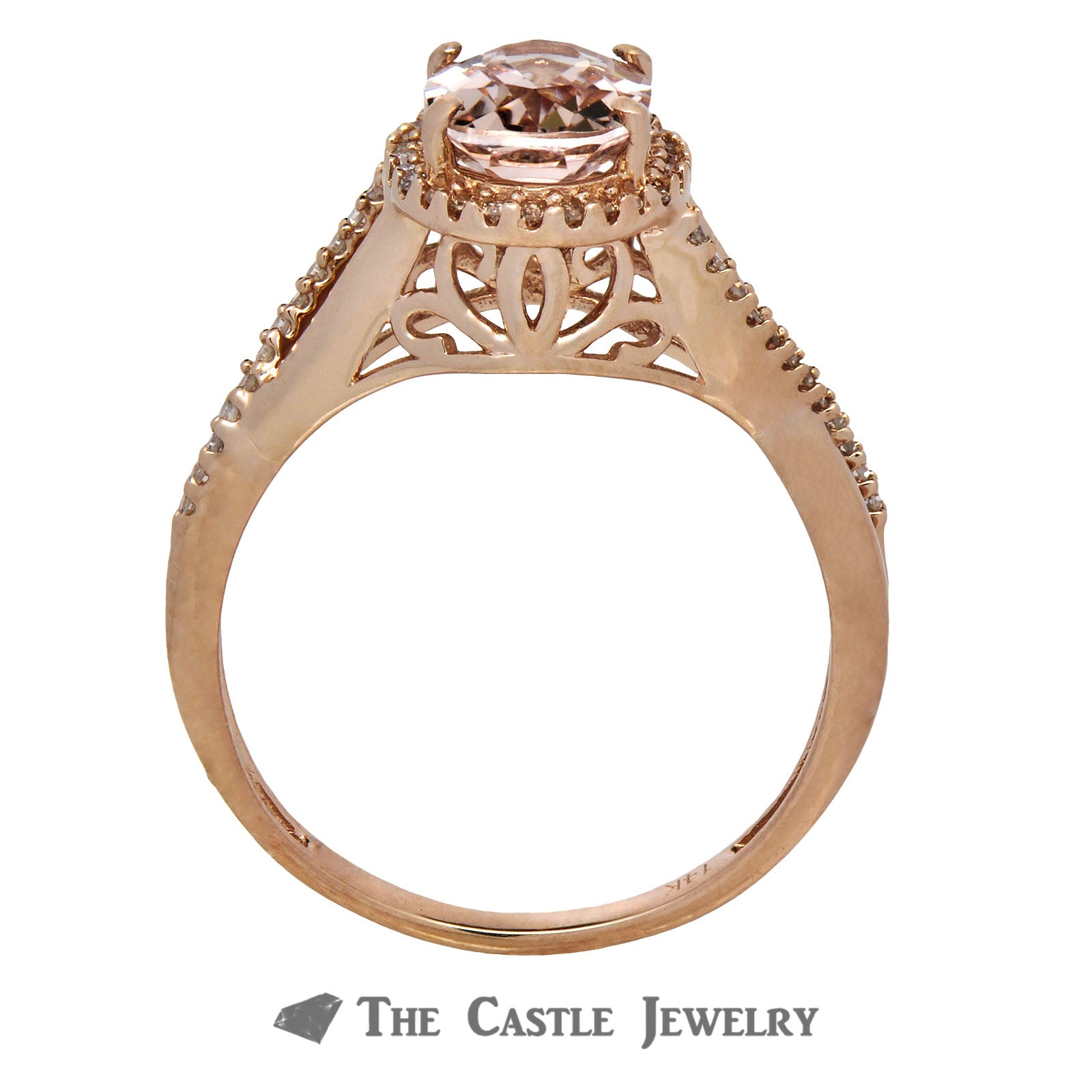 Morganite Ring with Diamond Bezel & Infinity Sides 14K Rose Gold-1