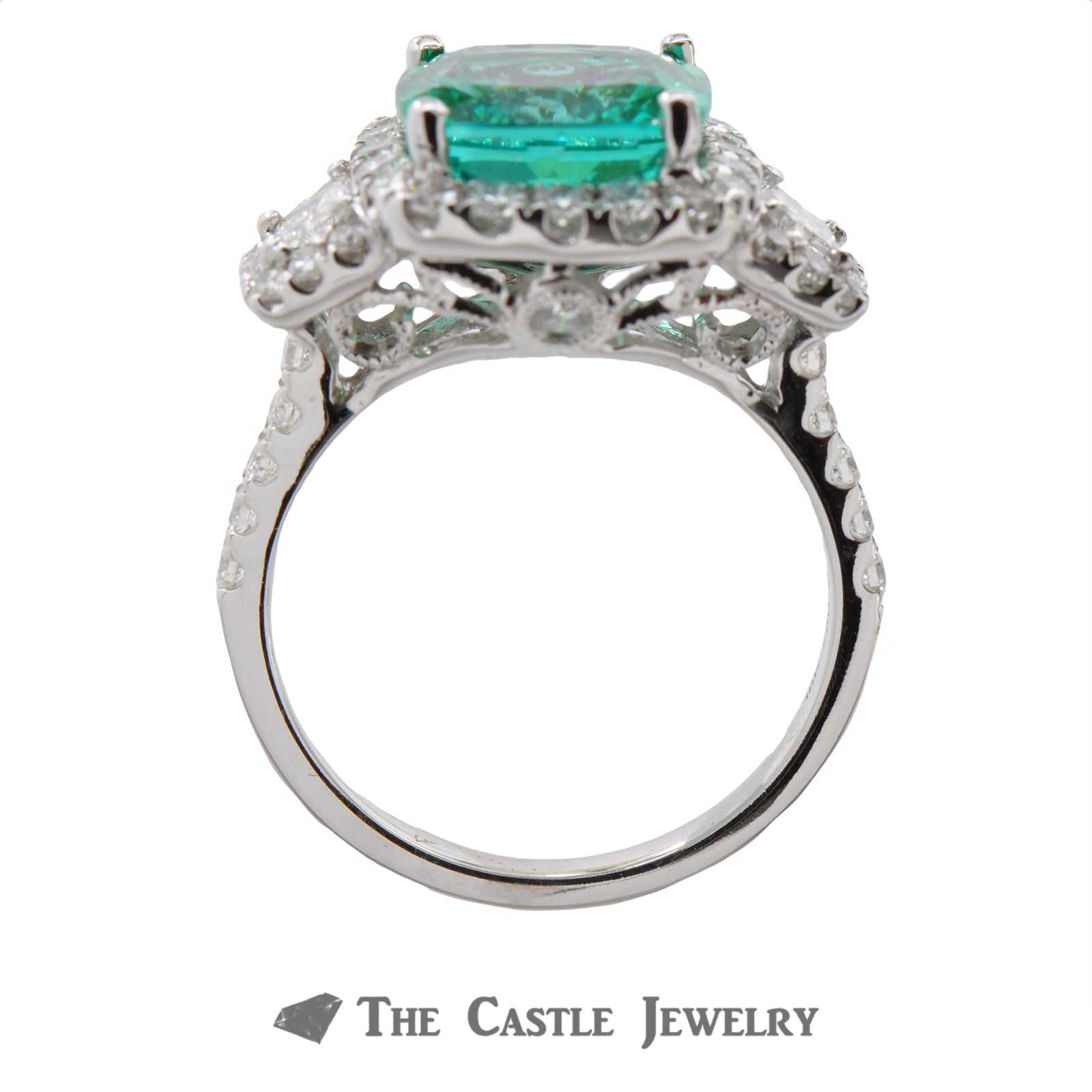 Cushion Cut Emerald Ring in a 18K White Gold Diamond Mounting-1