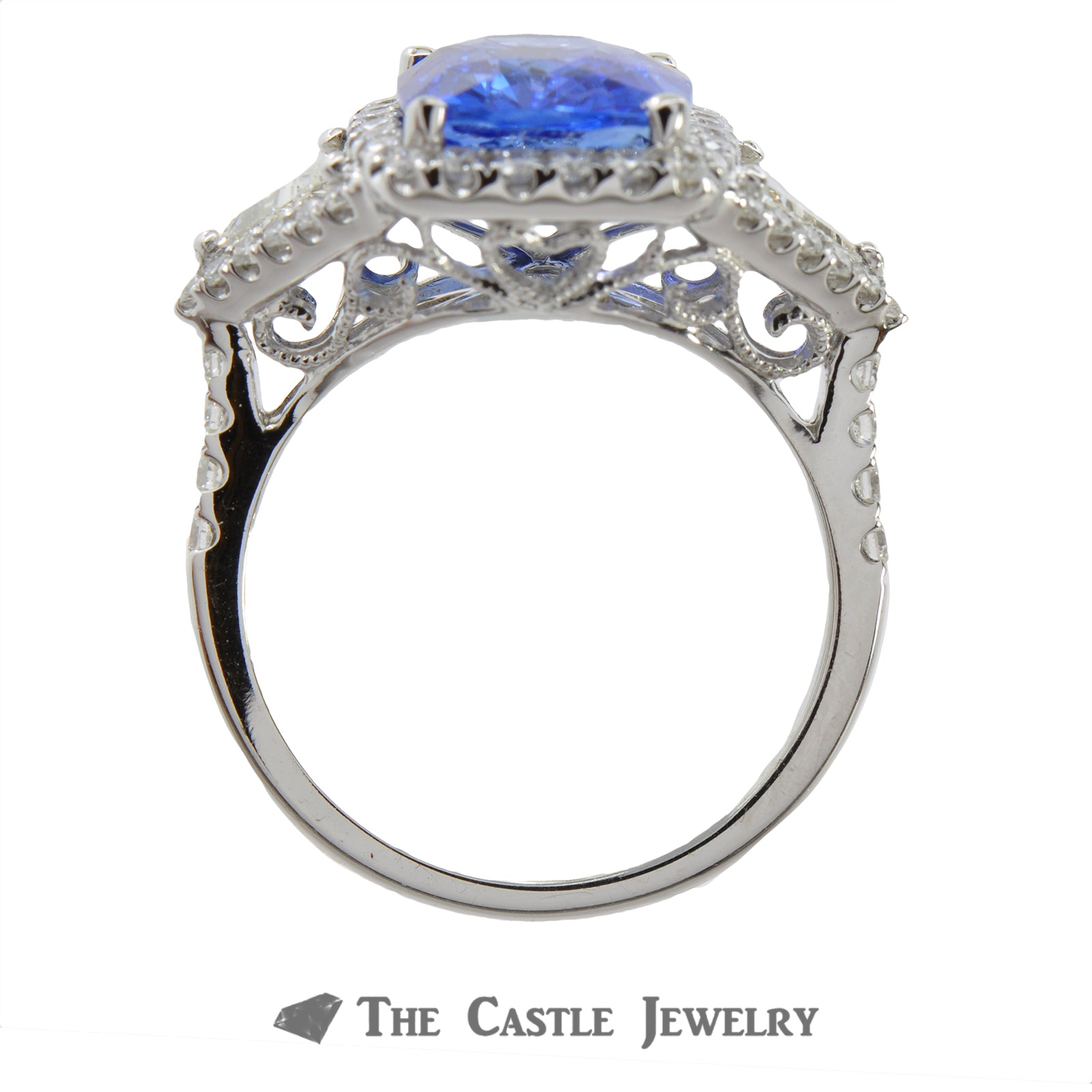 Cushion Cut Sapphire Ring with Trillion & Round Diamond Accents-1