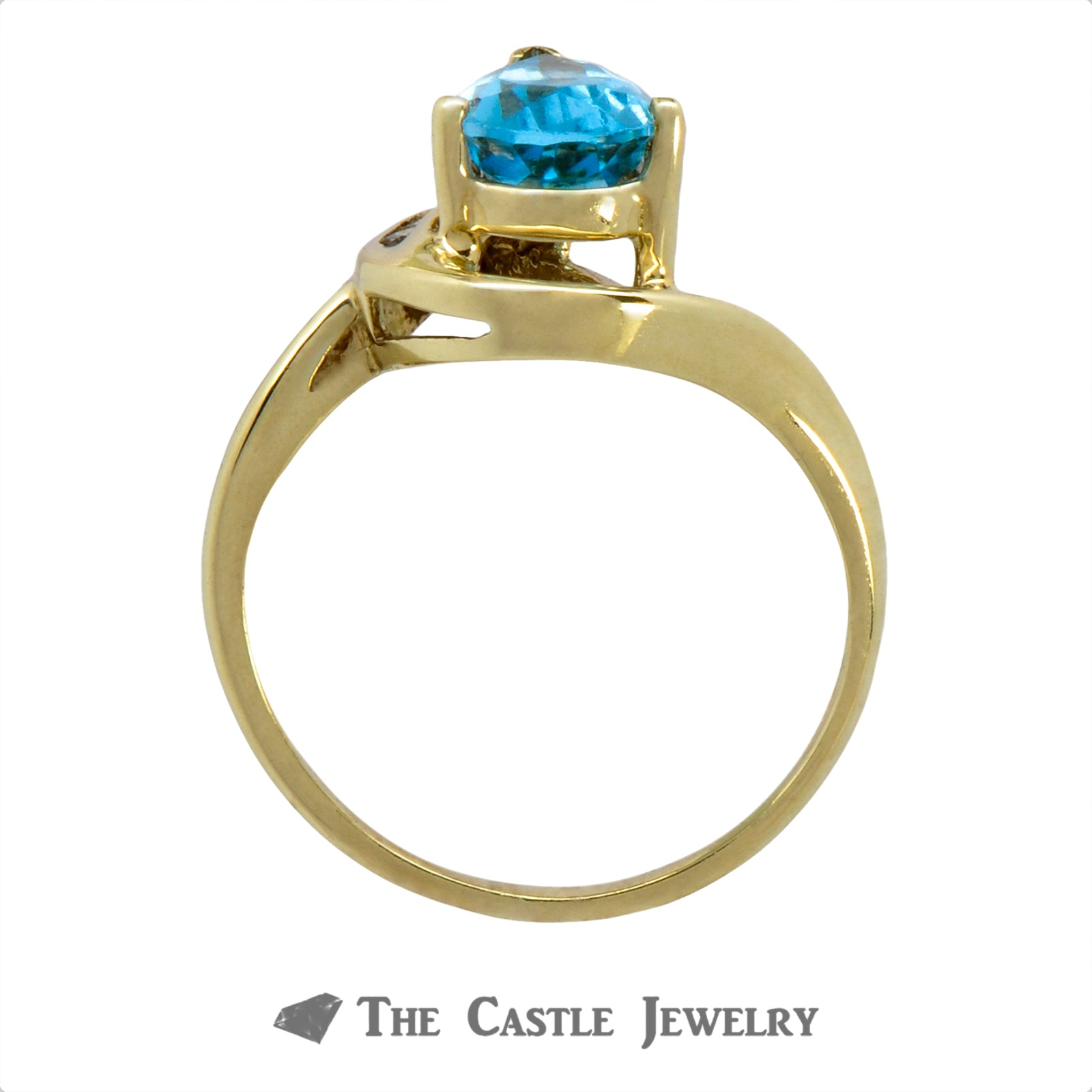 Pear Cut Blue Topaz Ring with Asymmetrical Channel Set Diamonds