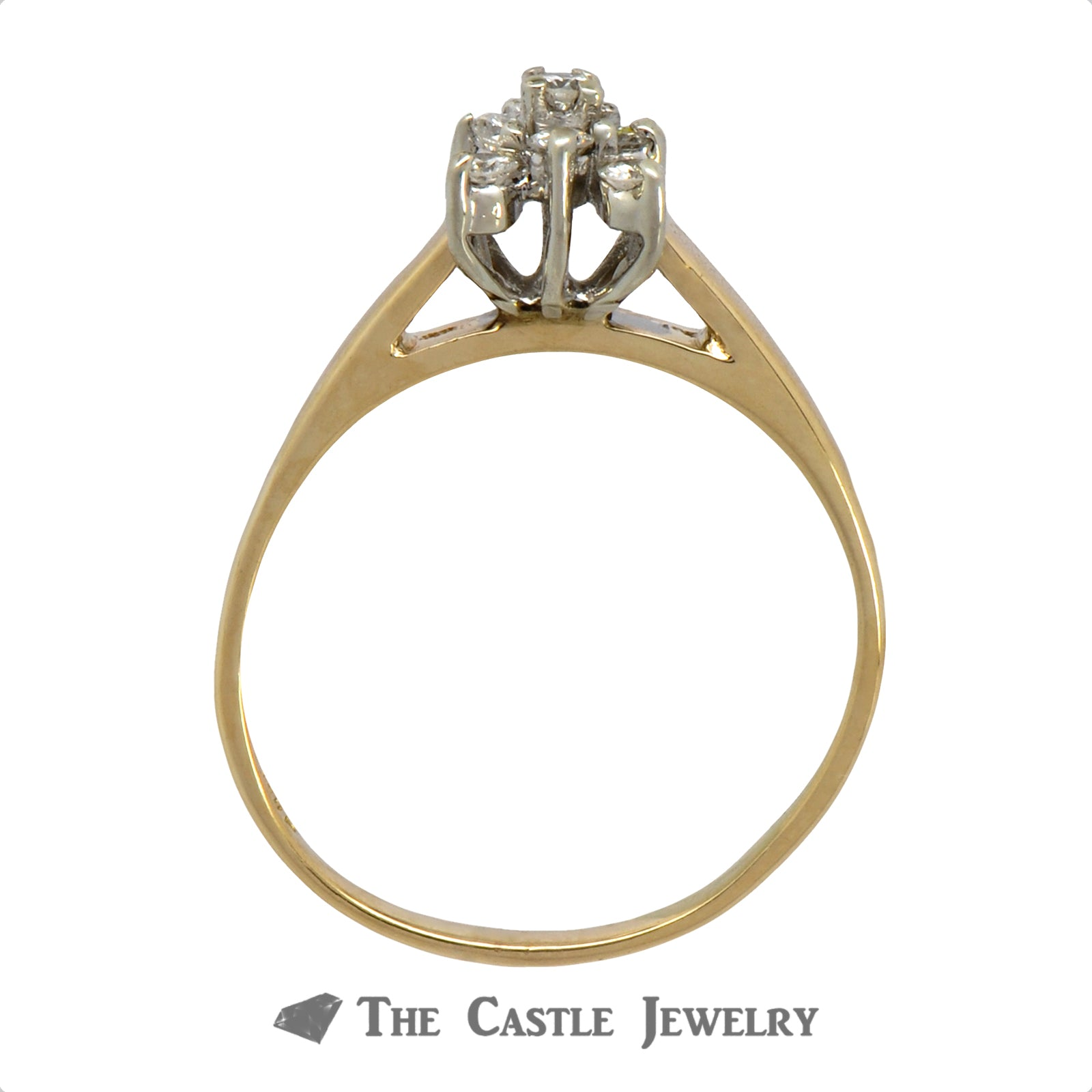 Square Diamond Shaped Cluster Ring in 14k Yellow Gold-1